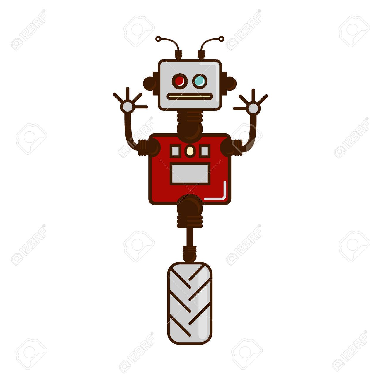 The Robot Icon Logo Robot On Hinges Unicycle Robotics Cartoon