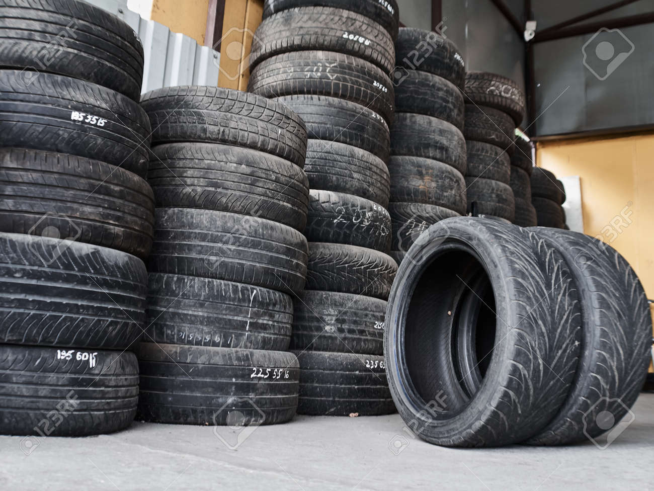 Used Car Tires >> Used Car Tires Stacked In Piles At Tire Fitting Service Wheels