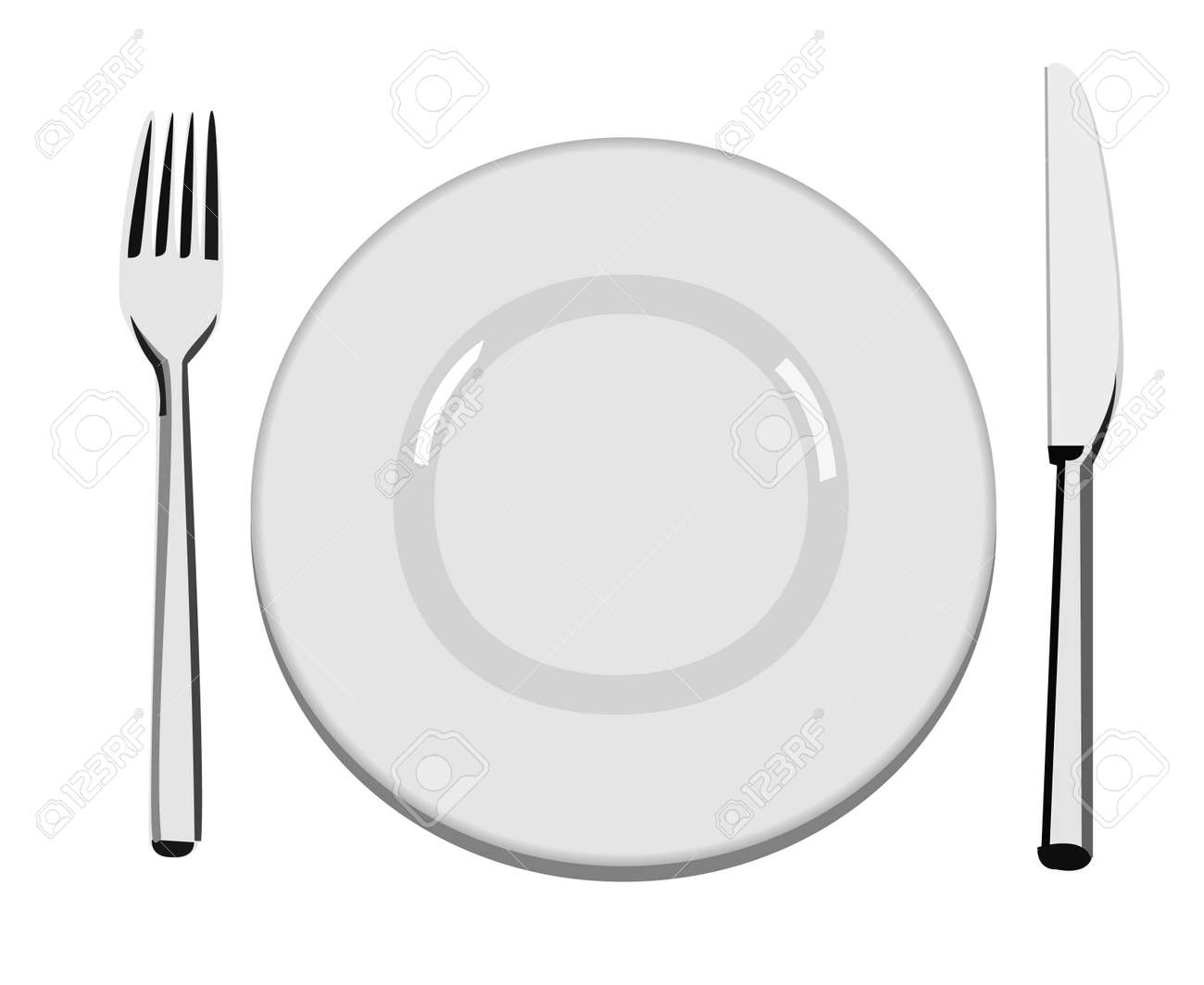 An empty white dish with knife and fork on a table - A Vector Illustration Of An Empty Dinner Plate A Fork And A Knife Stock Vector