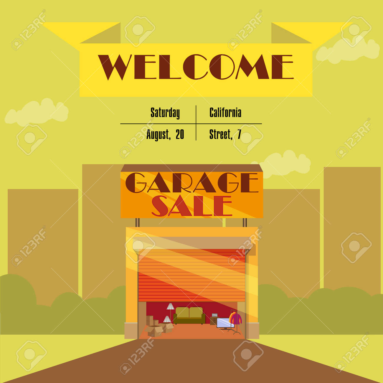Garage Or Yard Sale With Signs, Box And Household Items, Vintage ...