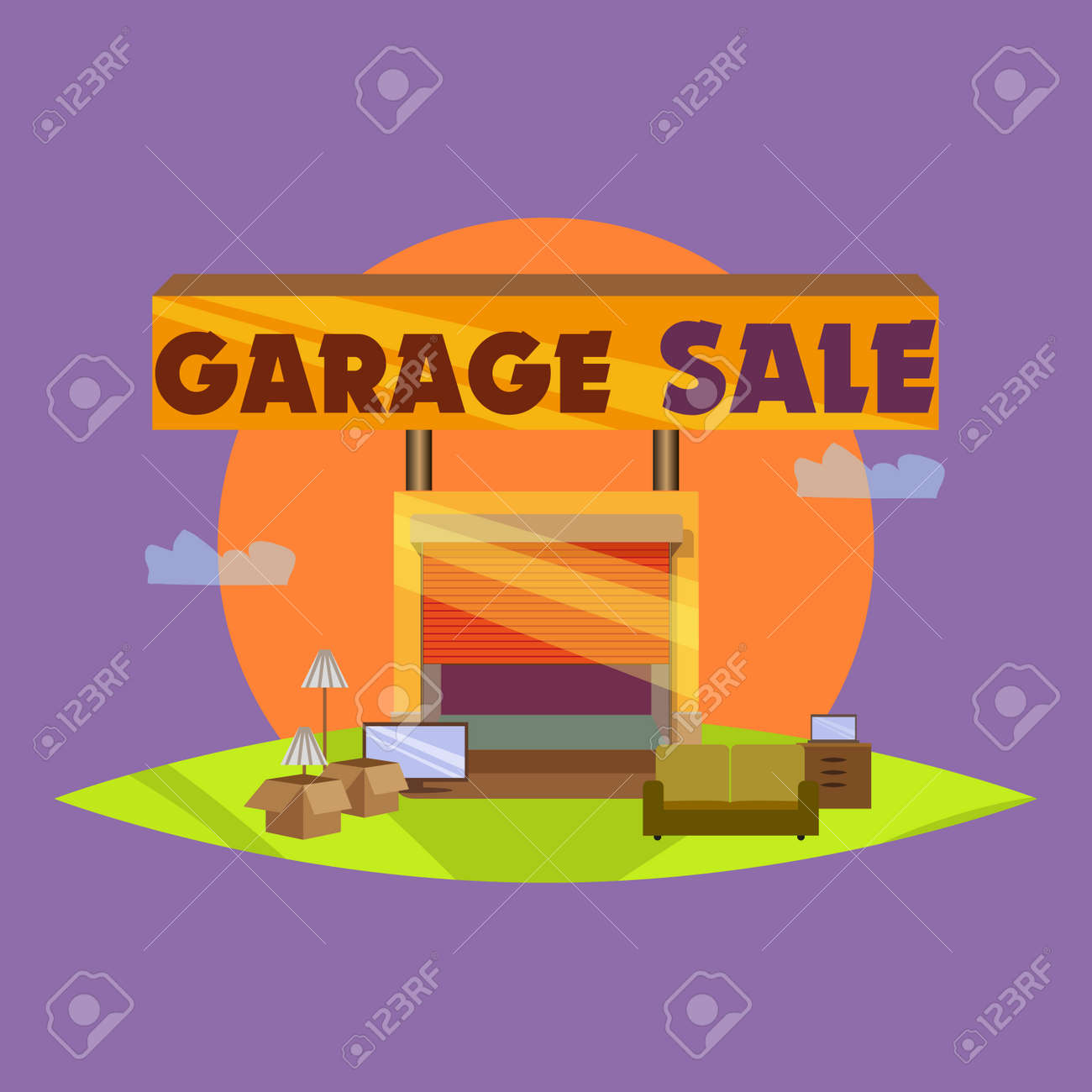 garage or yard sale with signs box and household items vintage
