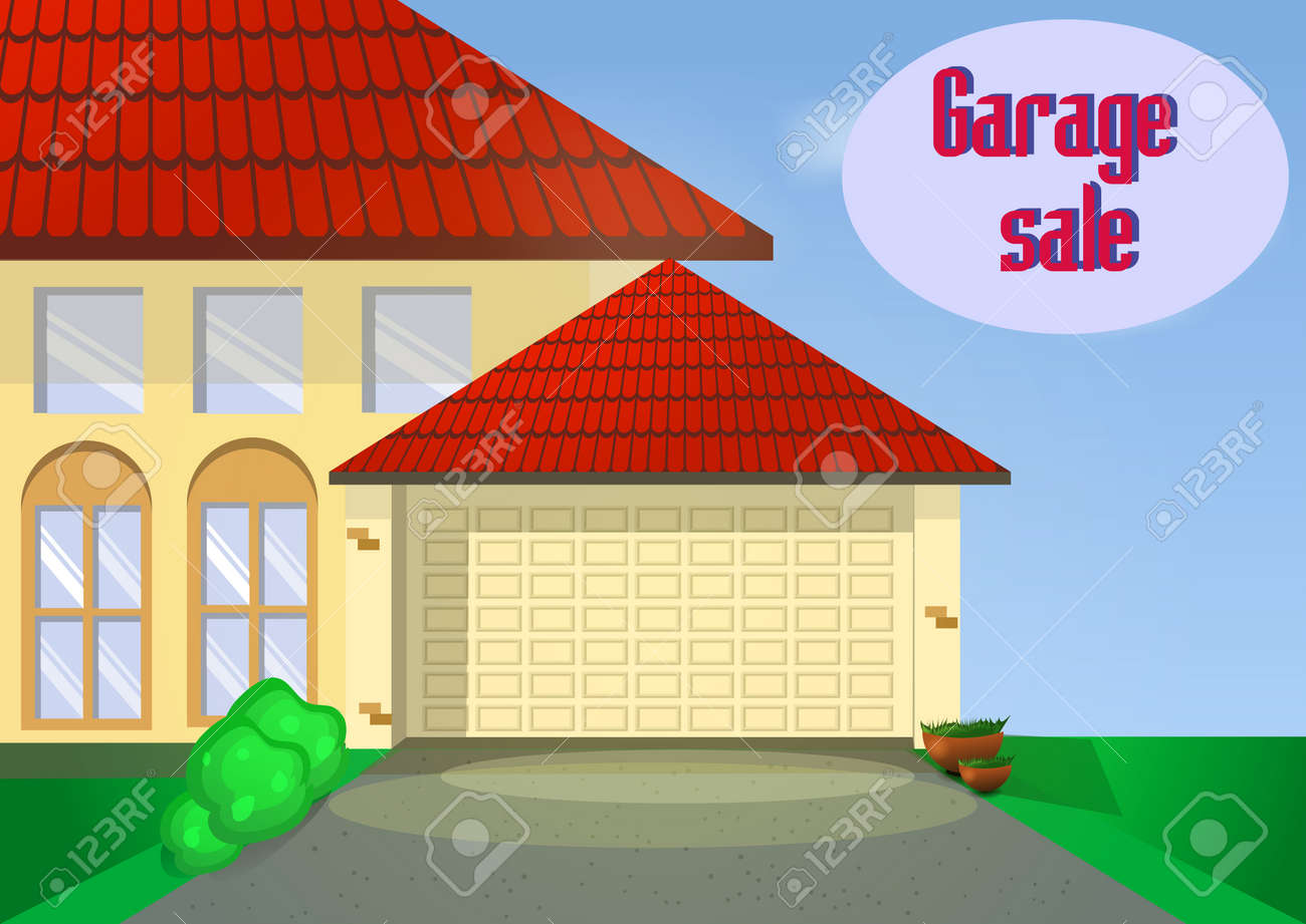 Garage Oder Yard Sale Mit Zeichen, Box Und Haushaltsgegenstände ...