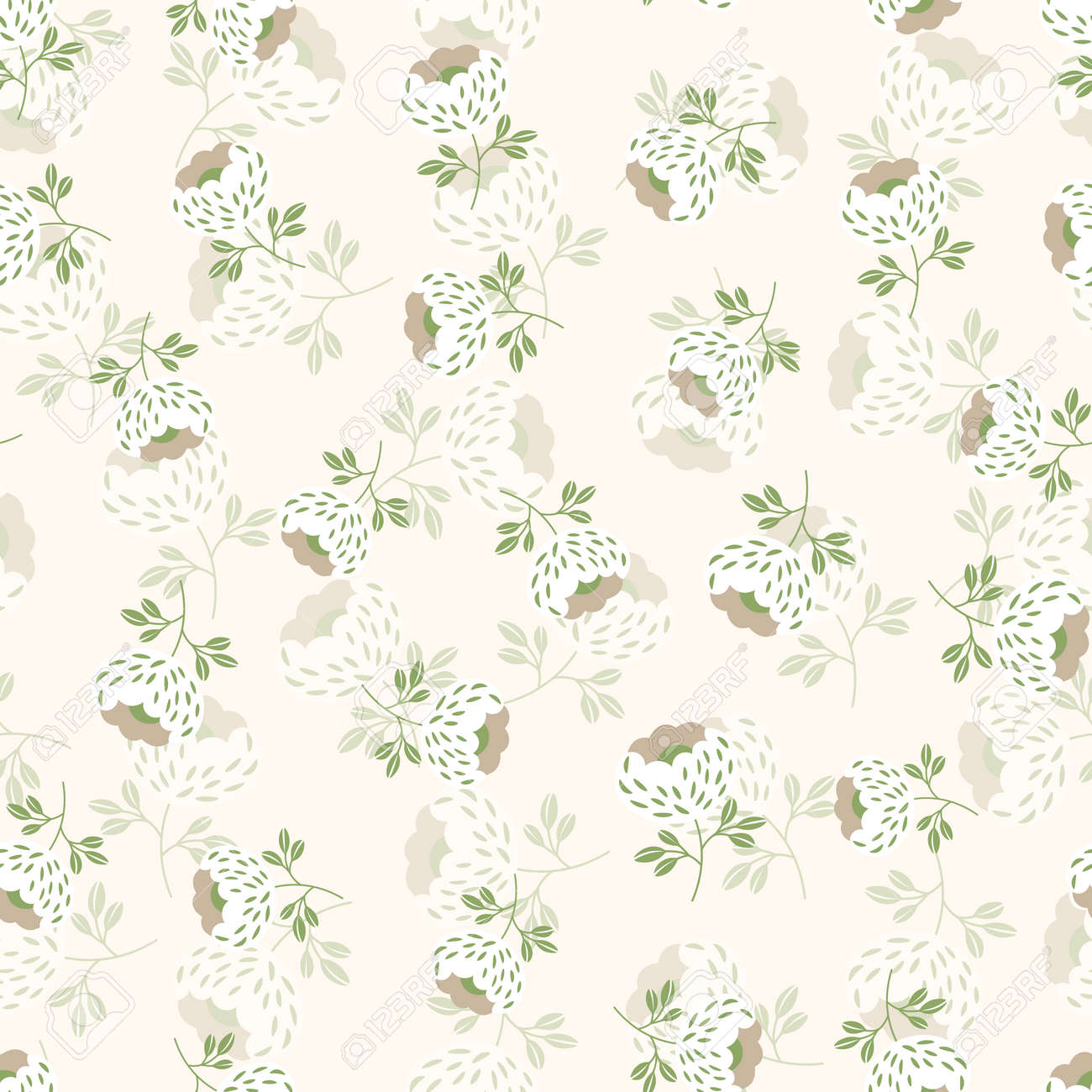 Seamless floral pattern based on traditional folk art ornaments. Colorful flowers on light background. Scandinavian style. Sweden nordic style. Vector illustration. Simple minimalistic pattern. - 164450371