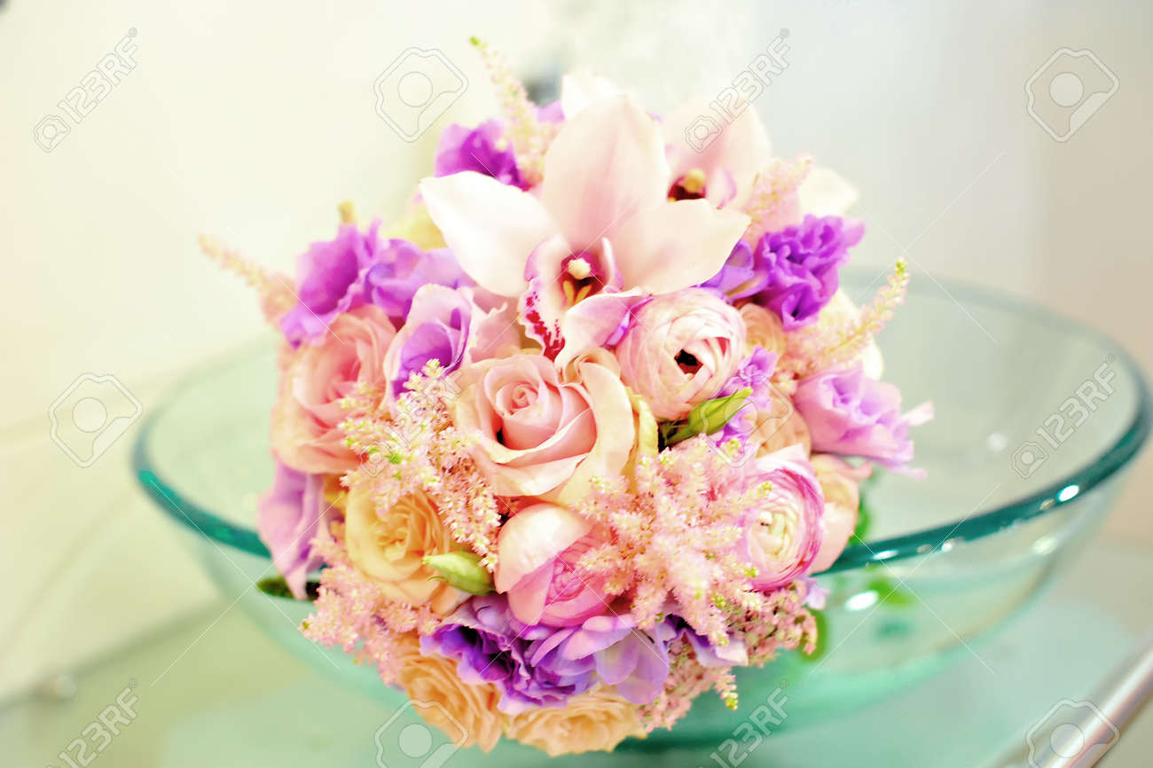 A Nice Wedding Bouquet Of Roses And Orchids Stock Photo, Picture And ...