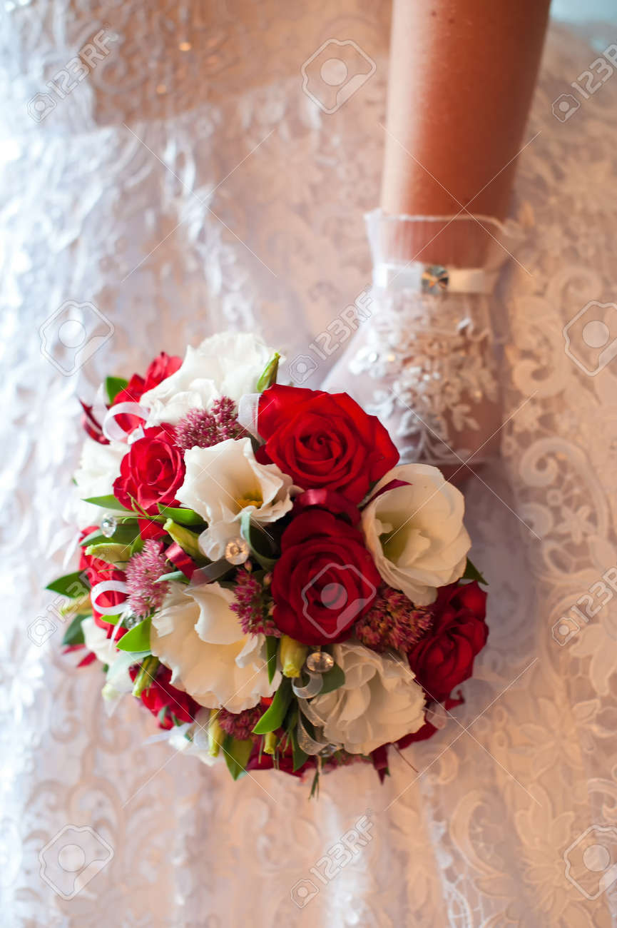 Wedding Bouquet Of Red And White Flowers Stock Photo Picture And