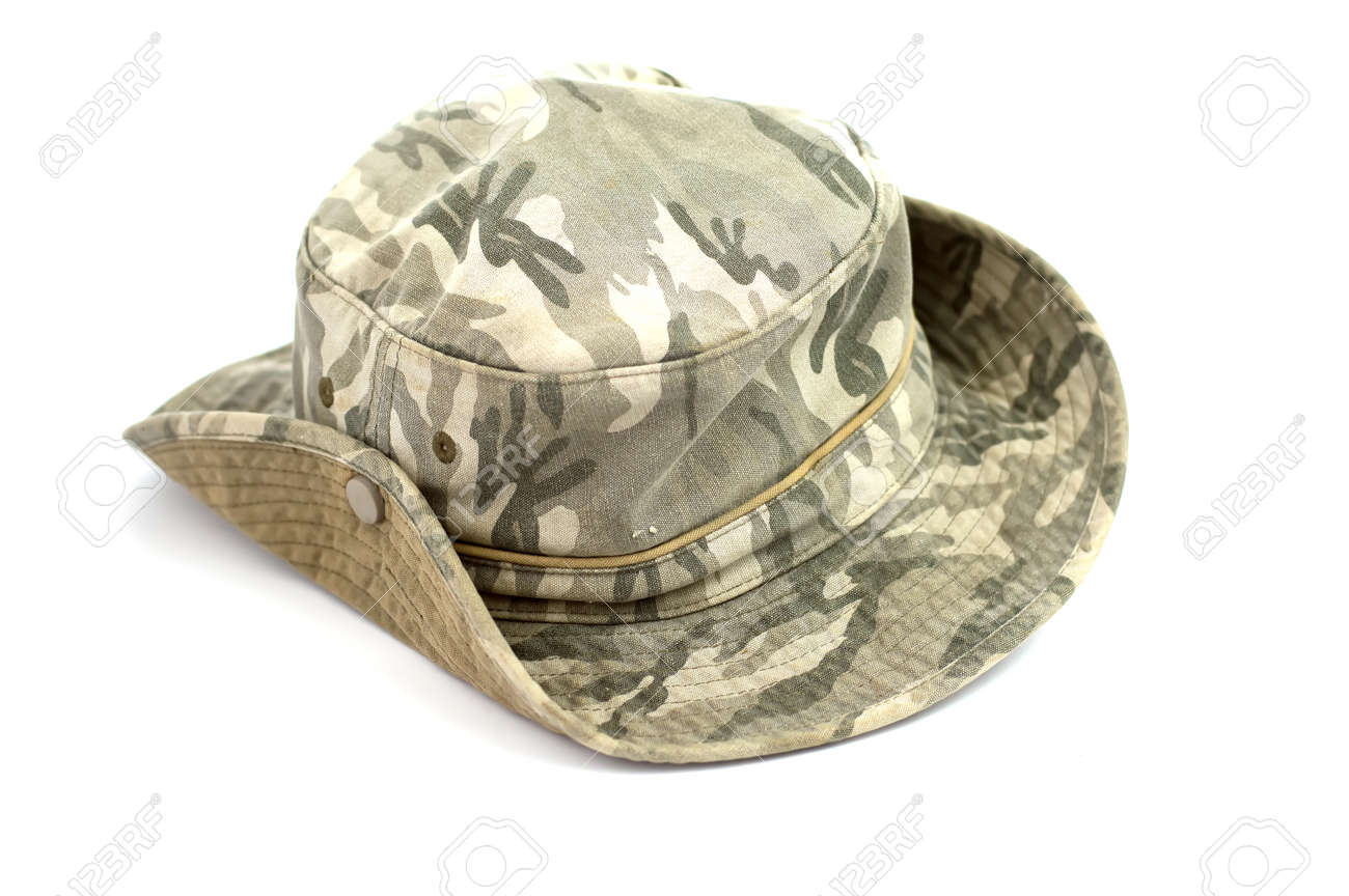 6bd556d4a33a8b Army camouflaged cap, isolated on white background Stock Photo - 61428137