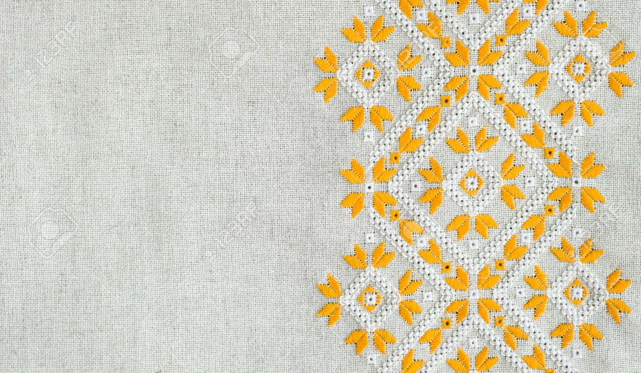 Textura De La Cosecha Homespun Lino Textil Con Bordado. Diseño De ...