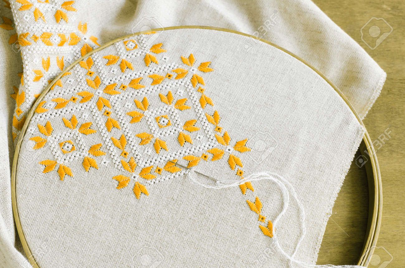 Element Handmade Embroidery On Linen By Yellow And White Cotton
