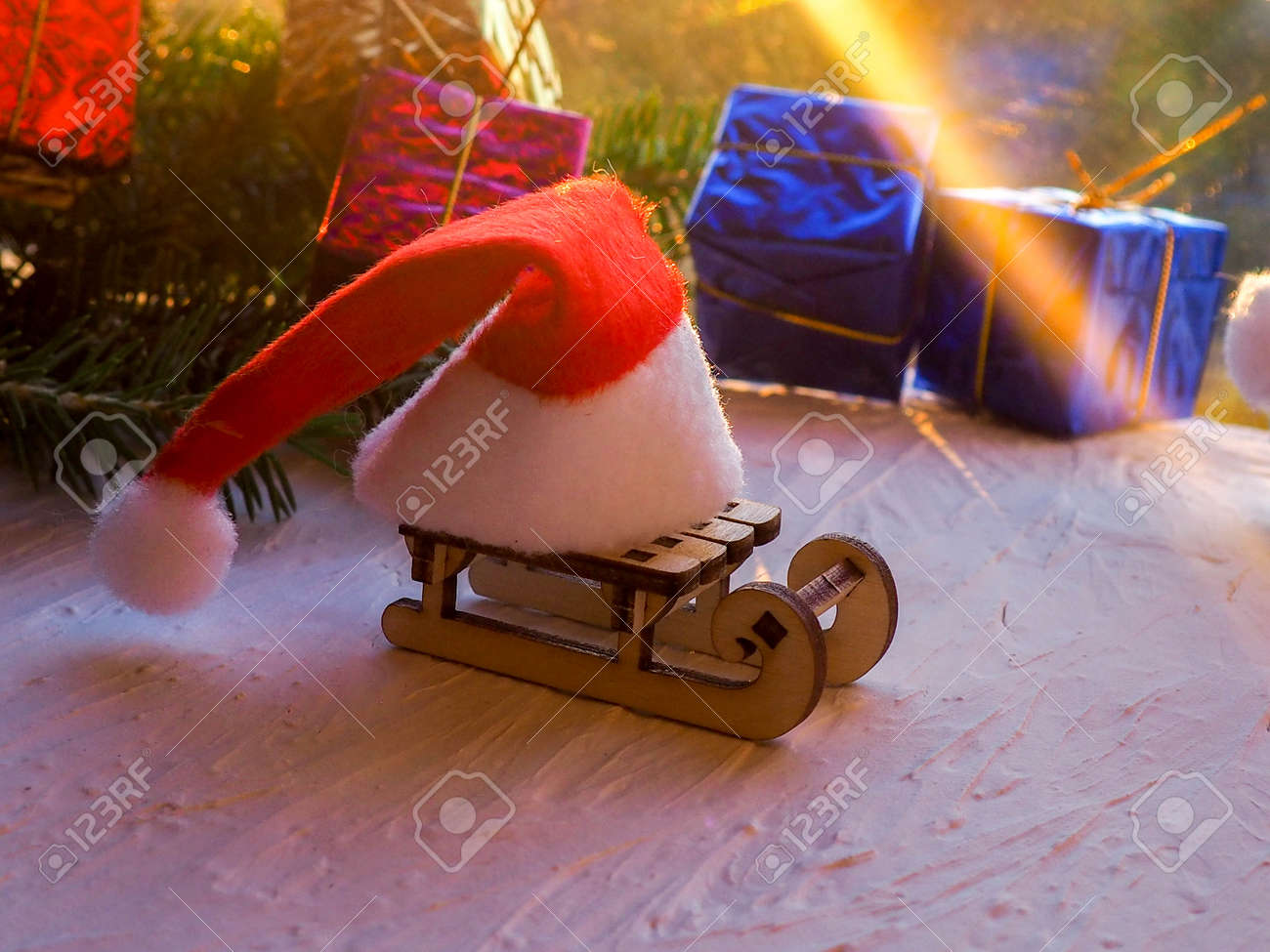 Christmas Still Life Of A Toy Sled Vintage Photo Gifts For