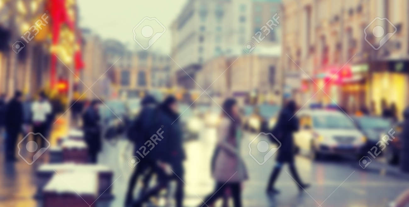 banner for web blurred road in big city, evening city, people, shops in lights. - 157756961