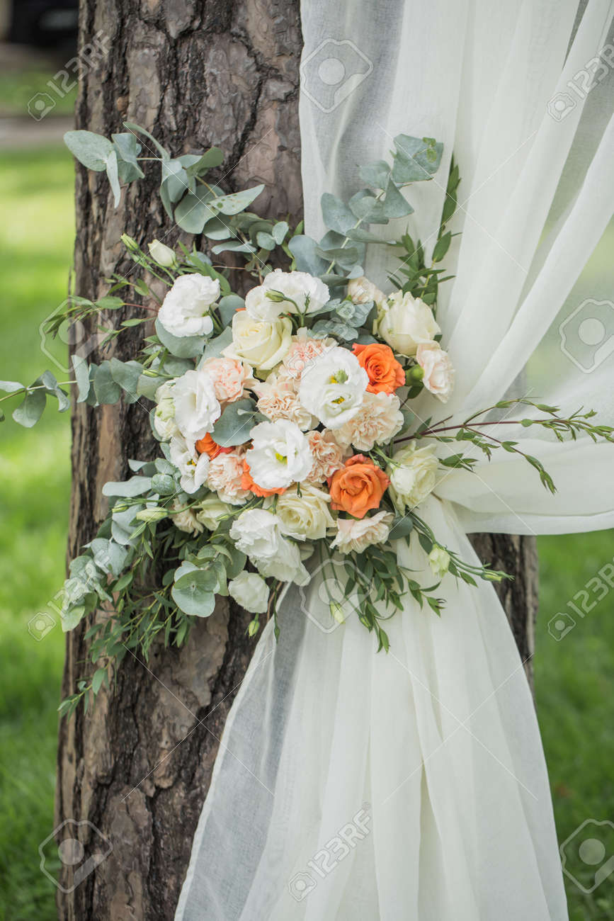 Decoration of flowers and fabrics of a wedding arch stock photo decoration of flowers and fabrics of a wedding arch stock photo 97030986 junglespirit Choice Image