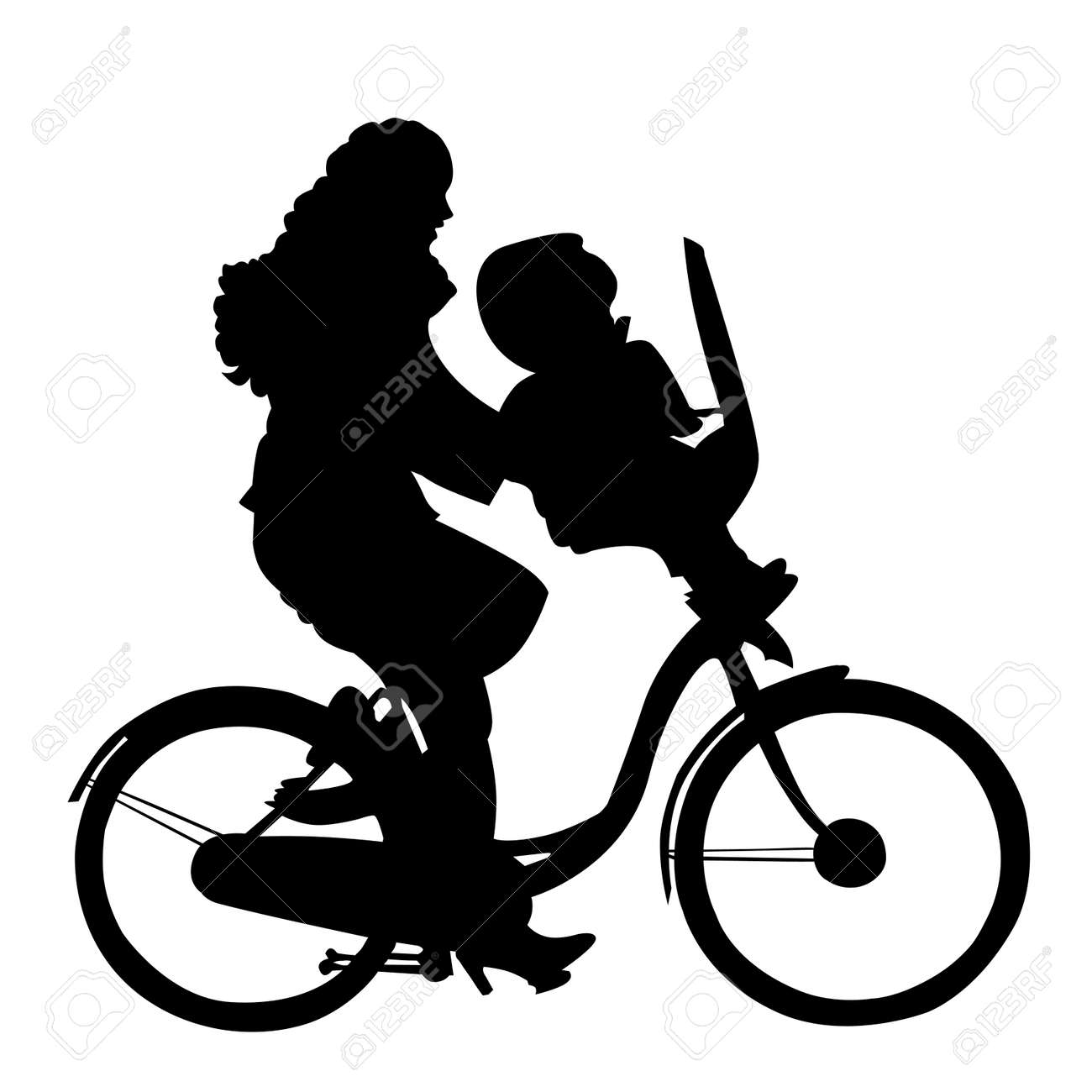 Mother with child riding bicycle silhouette Stock Vector - 2737022