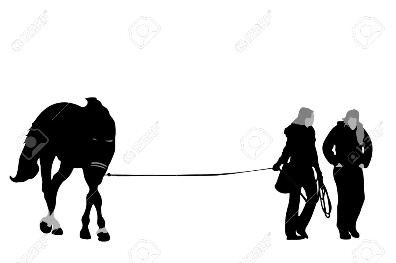 Two Girls Walking Horse Silhouette Royalty Free Cliparts Vectors And Stock Illustration Image 2790324