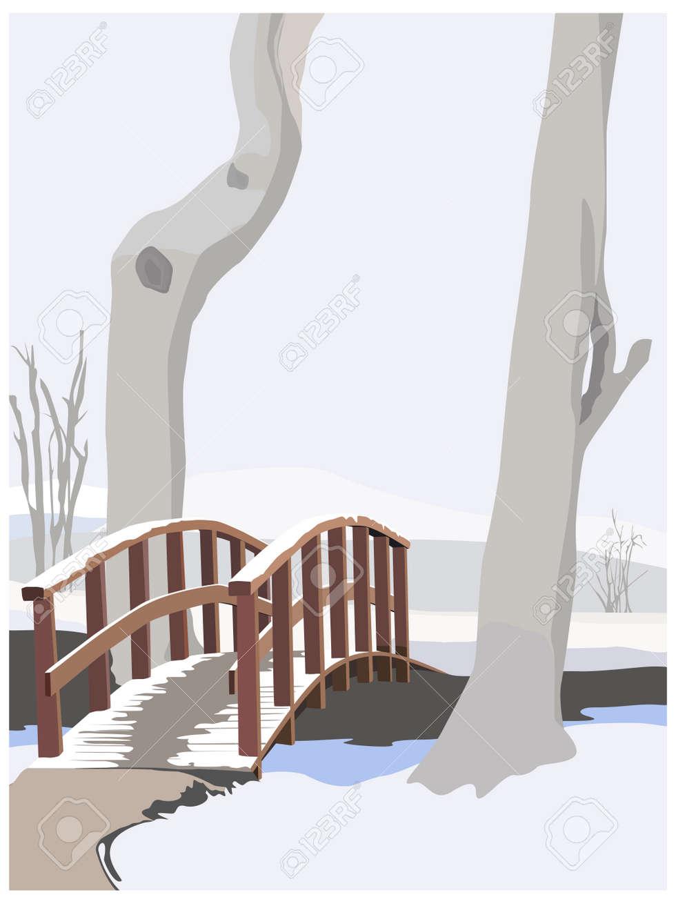 winter idyll, color vector illustration Stock Vector - 3402498