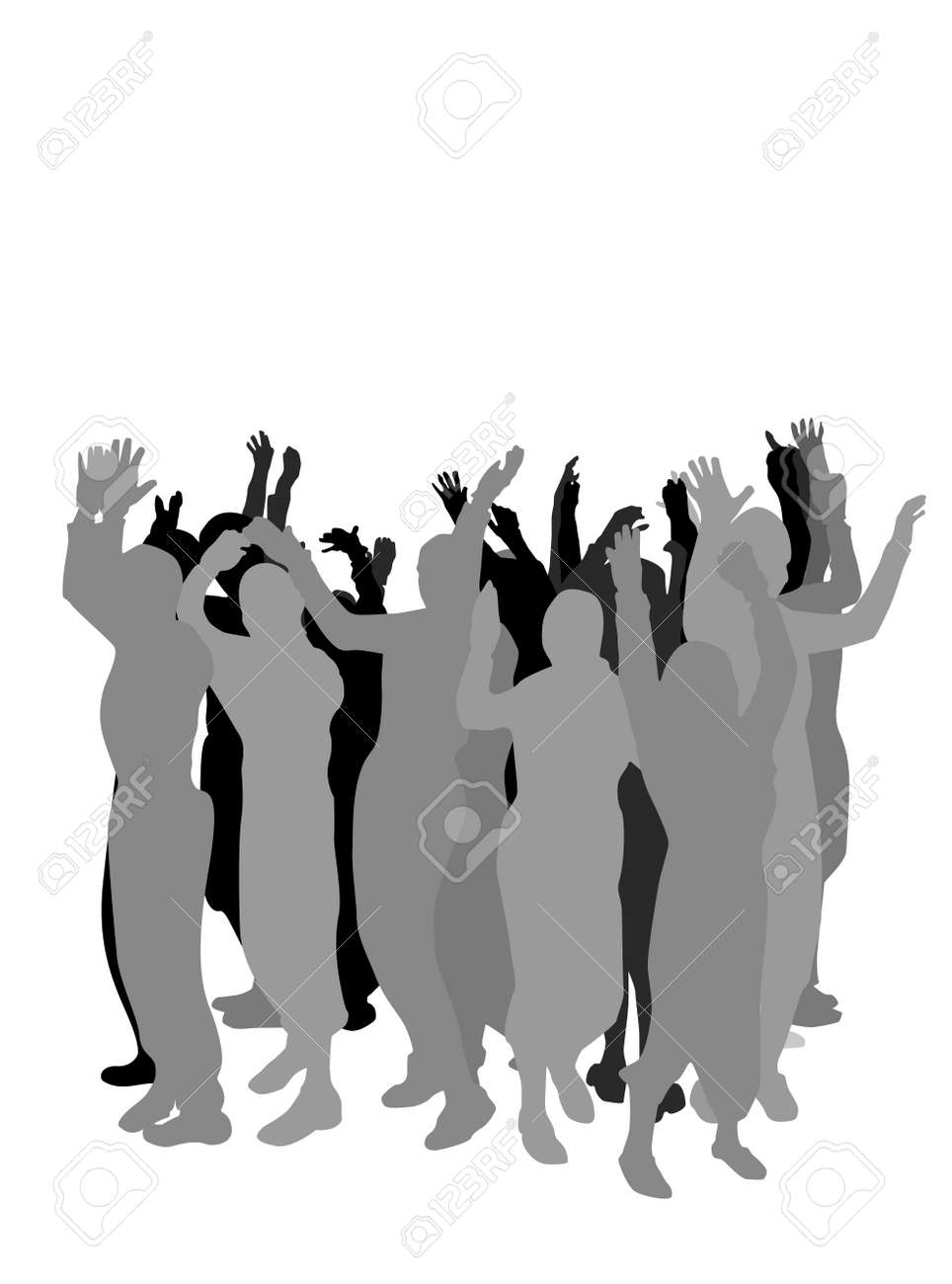 group of  people hand waving Stock Vector - 3479584