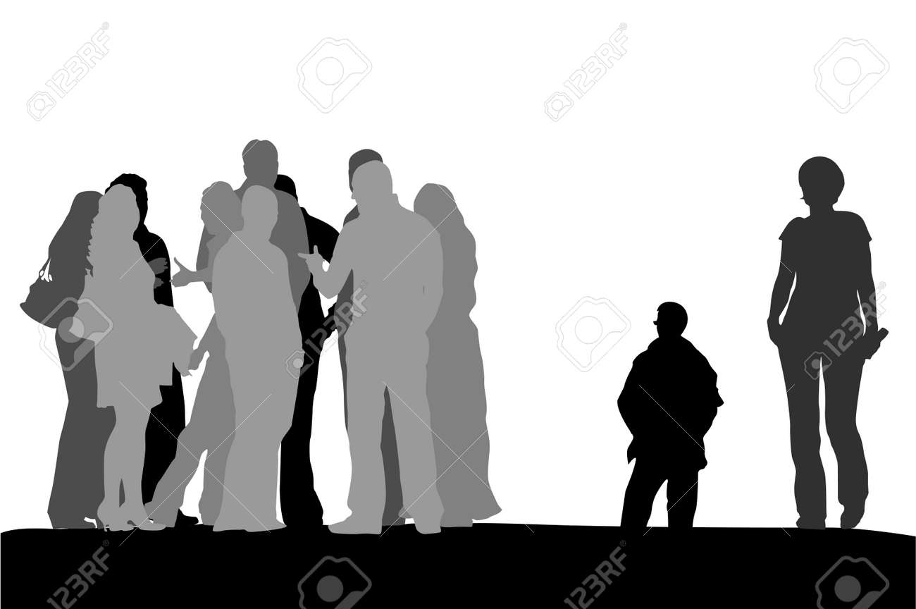 group of people standing on the top of the  hill Stock Vector - 3499263
