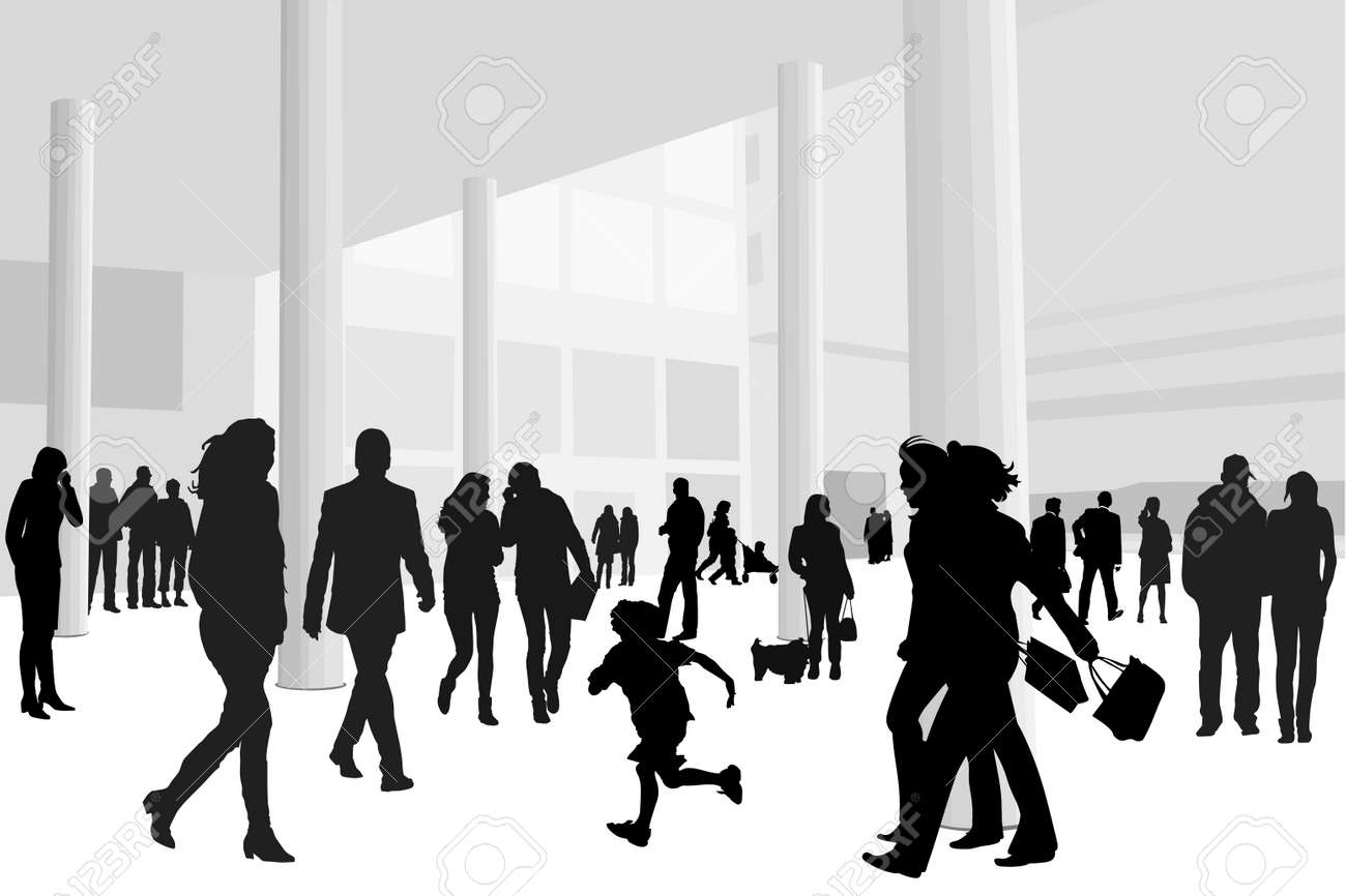 illustration of people in shopping center Stock Vector - 3970745