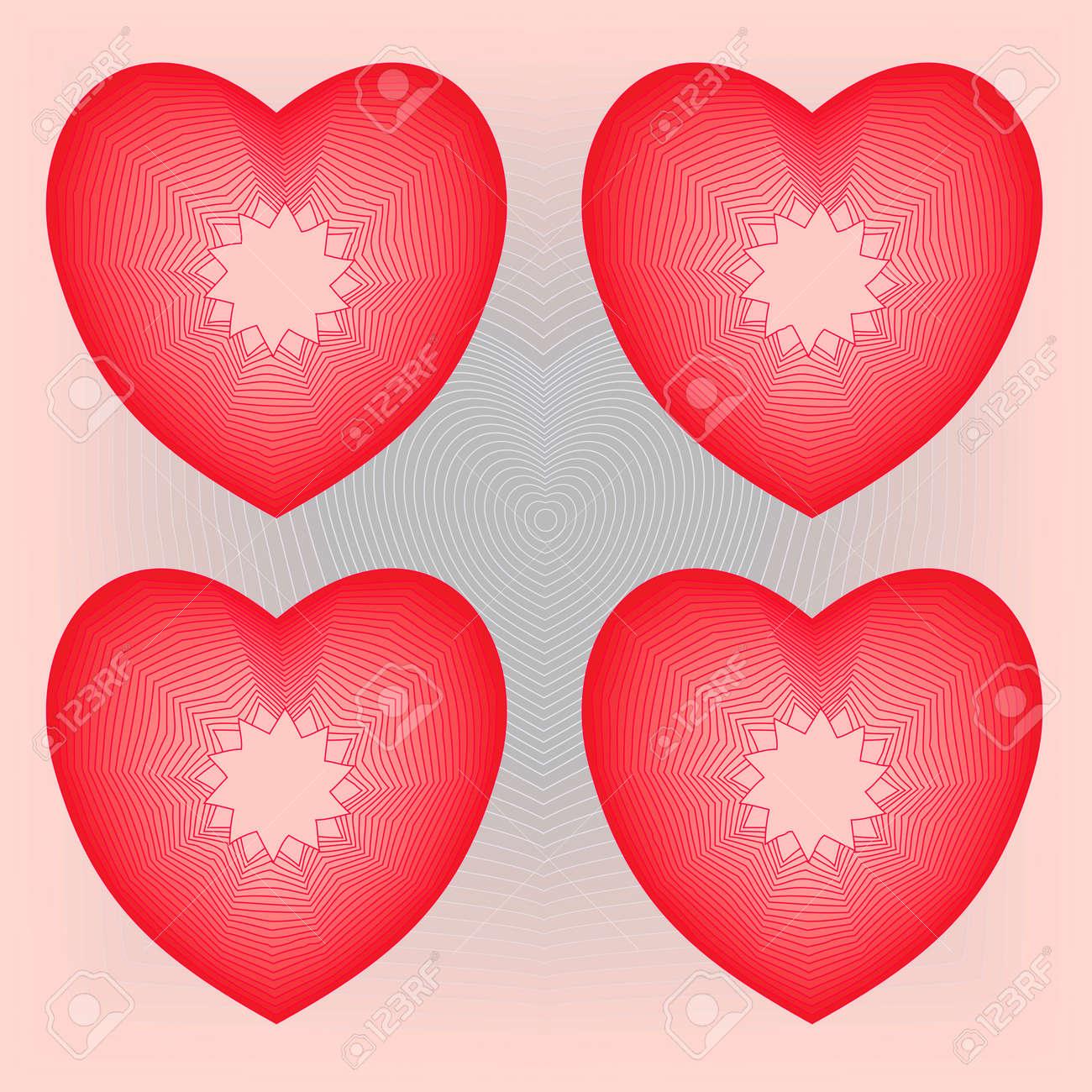 four shiny hearts on heath background Stock Vector - 4011758