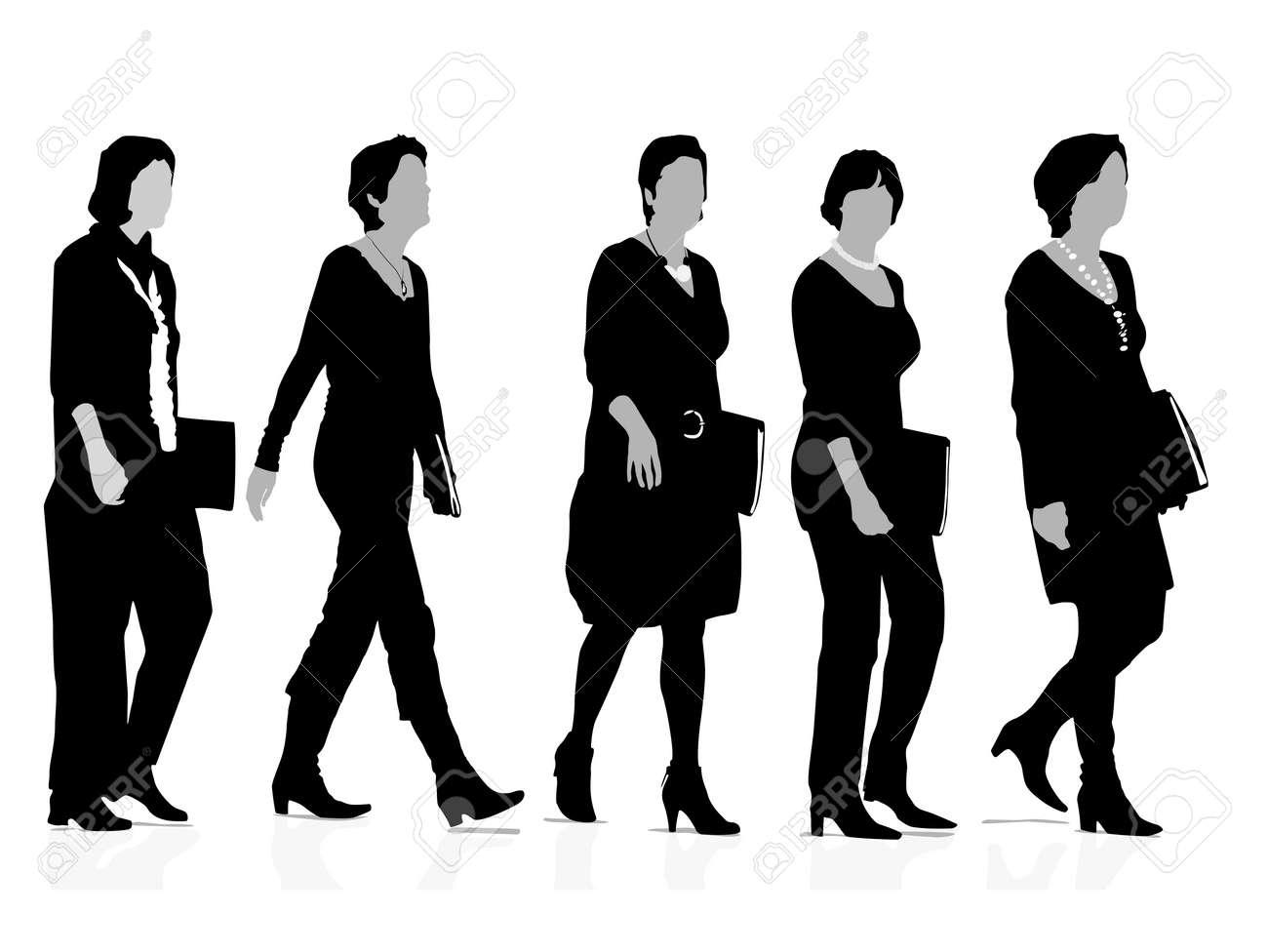 five businesswomen silhouettes Stock Vector - 4043084
