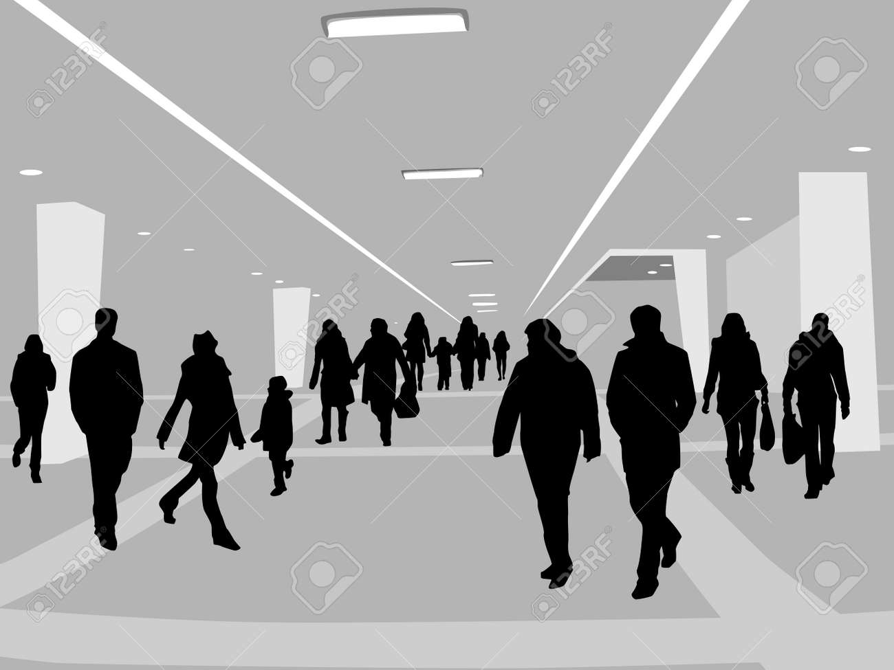 illustration of people in shopping center Stock Vector - 4206832