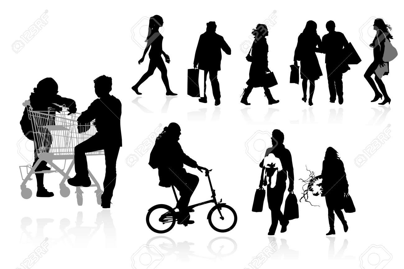 shopper silhouettes, collection for designers Stock Vector - 4368749