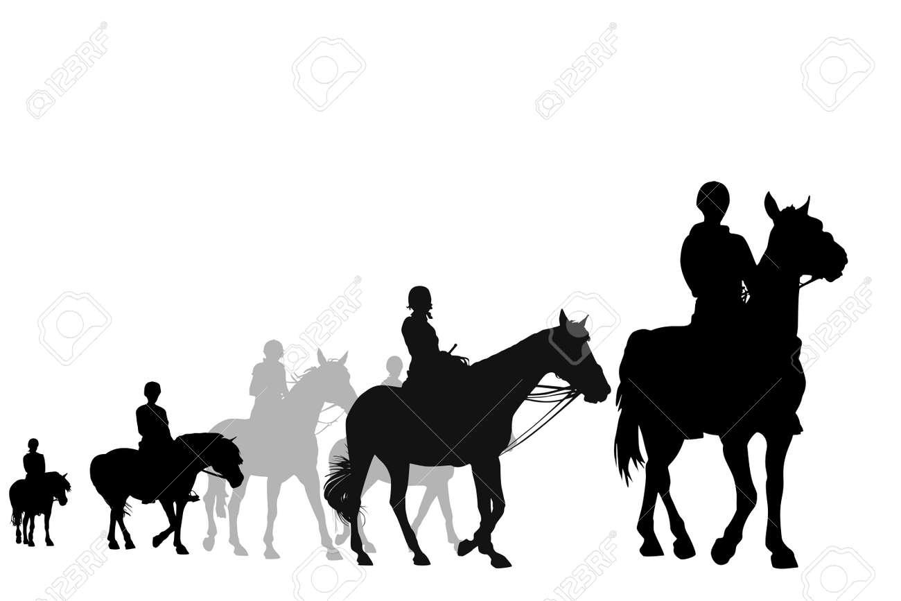 illustration of teens on horseback riding trip Stock Vector - 4432296