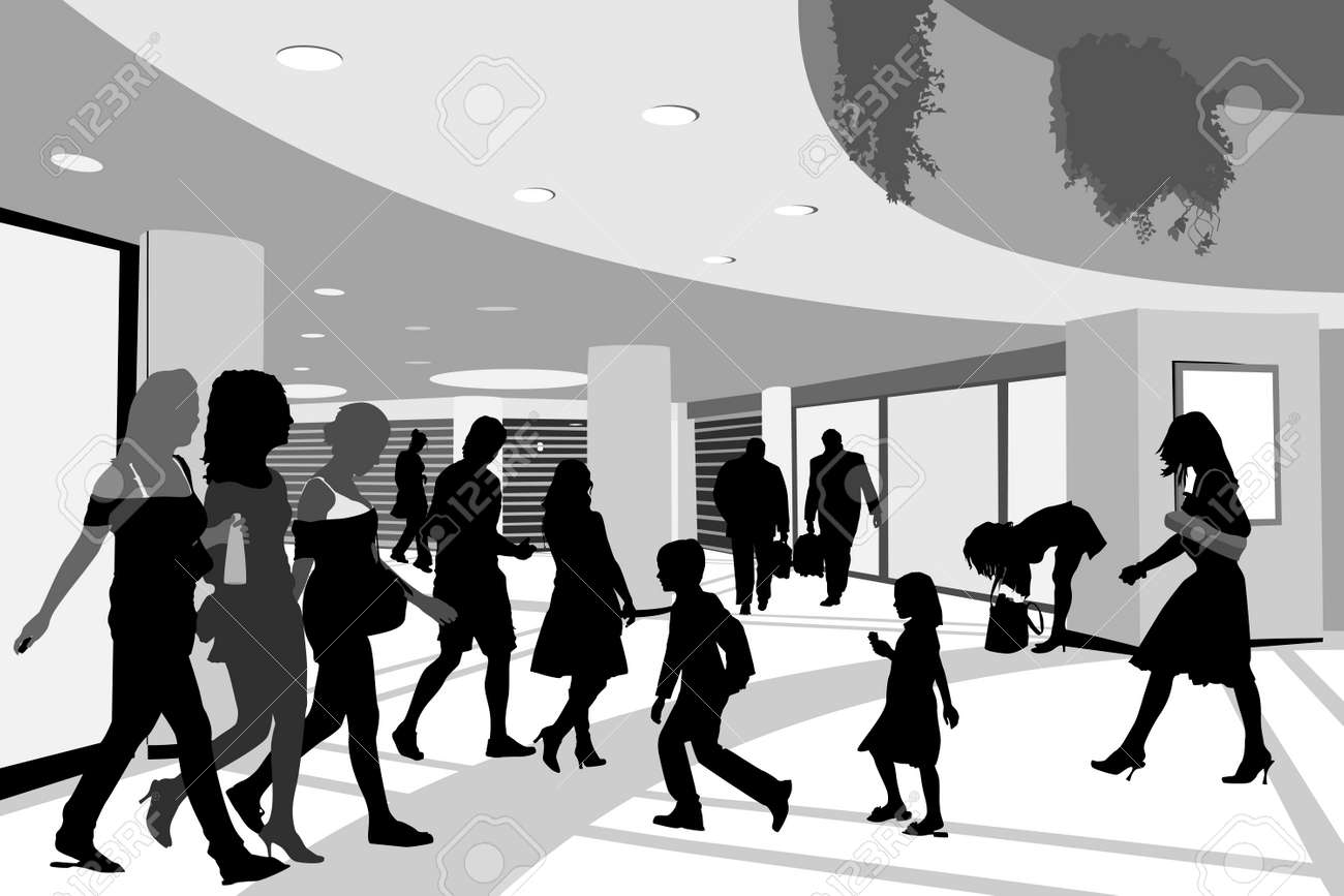 shoppers in shopping center illustration Stock Vector - 4567095