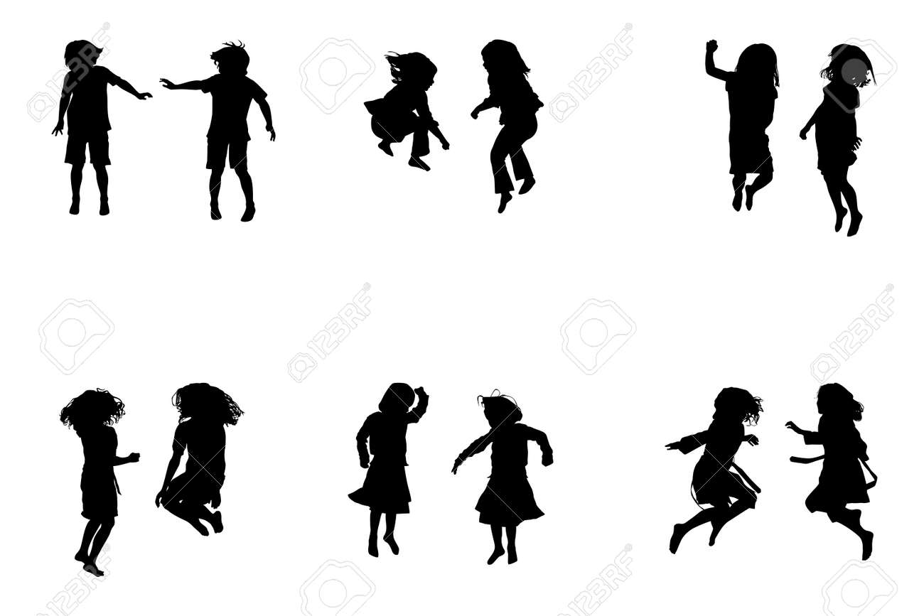 kids jumping collection for designers royalty free cliparts rh 123rf com child playing silhouette vector girl child silhouette vector