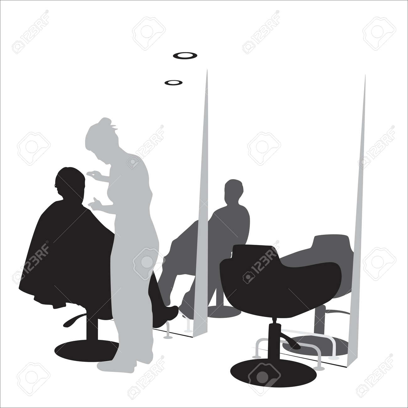 Hair salon chair isolated stock photos illustrations and vector art - Styling Young Man In Hair Styling Salon