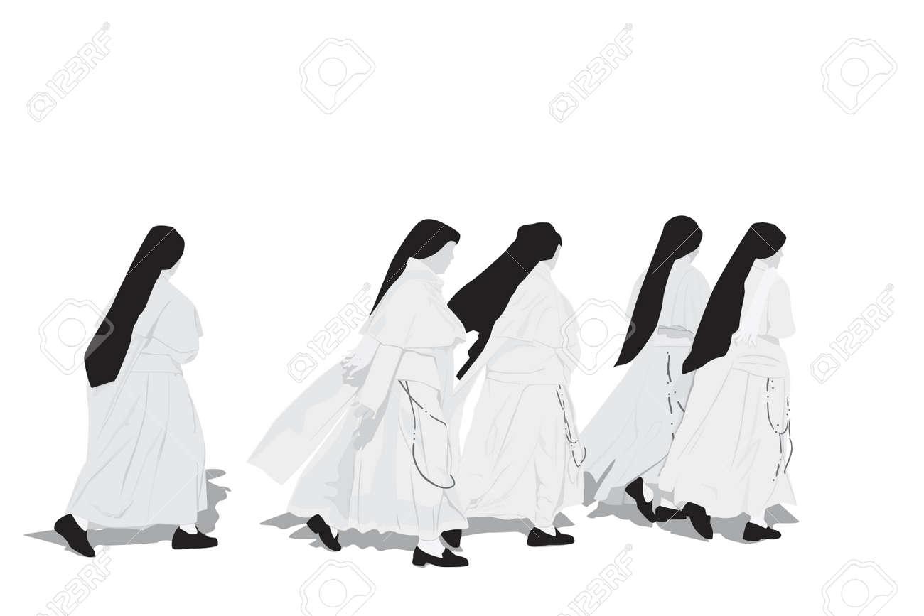 five nuns walking Stock Vector - 5014305