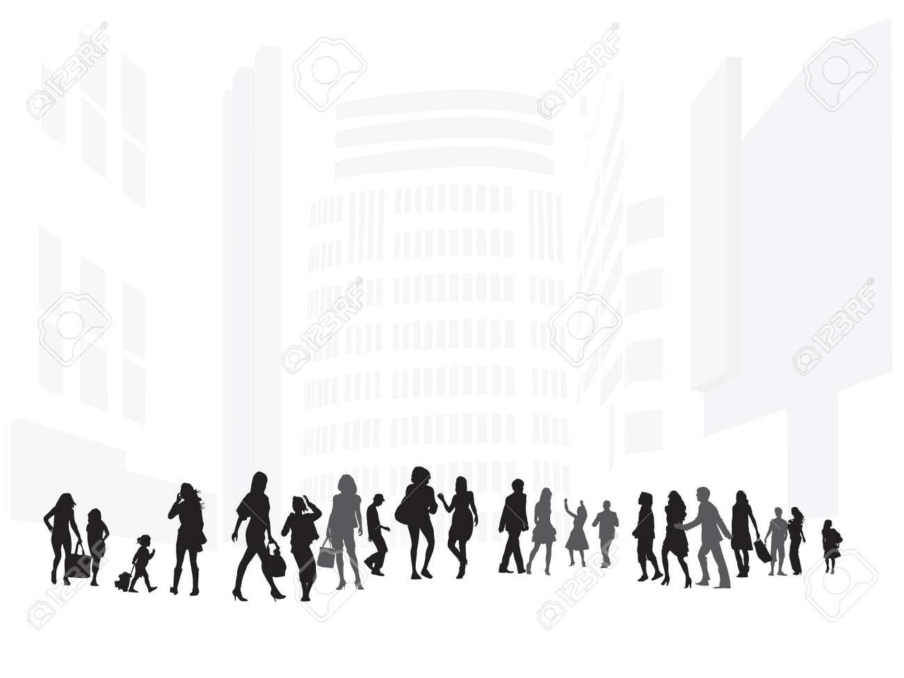 illustration of shopping street Stock Vector - 5107983