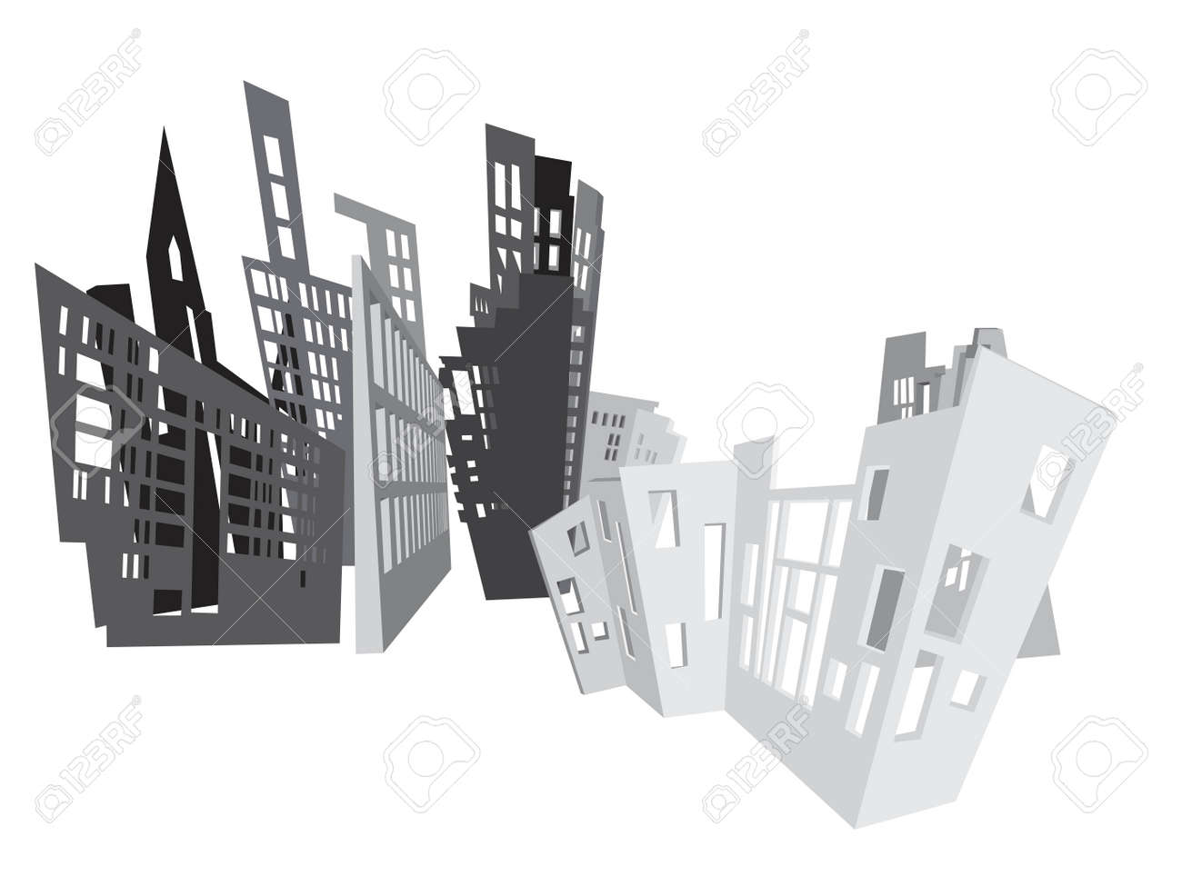abstract city background, grayscale drawing Stock Vector - 5765236