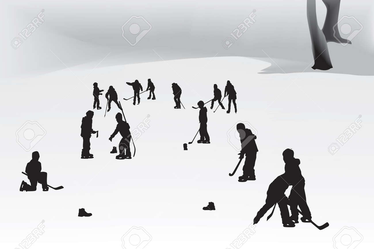 children playing hockey on a frozen lake Stock Vector - 5838246
