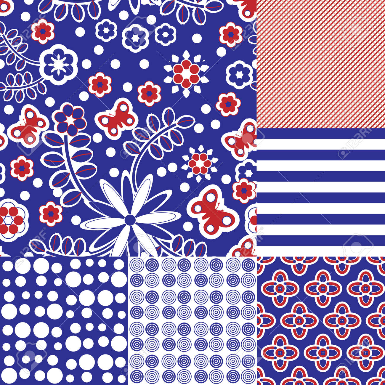 Six seamless tilable repeat patterns in blue, red and white Stock Vector - 7026857