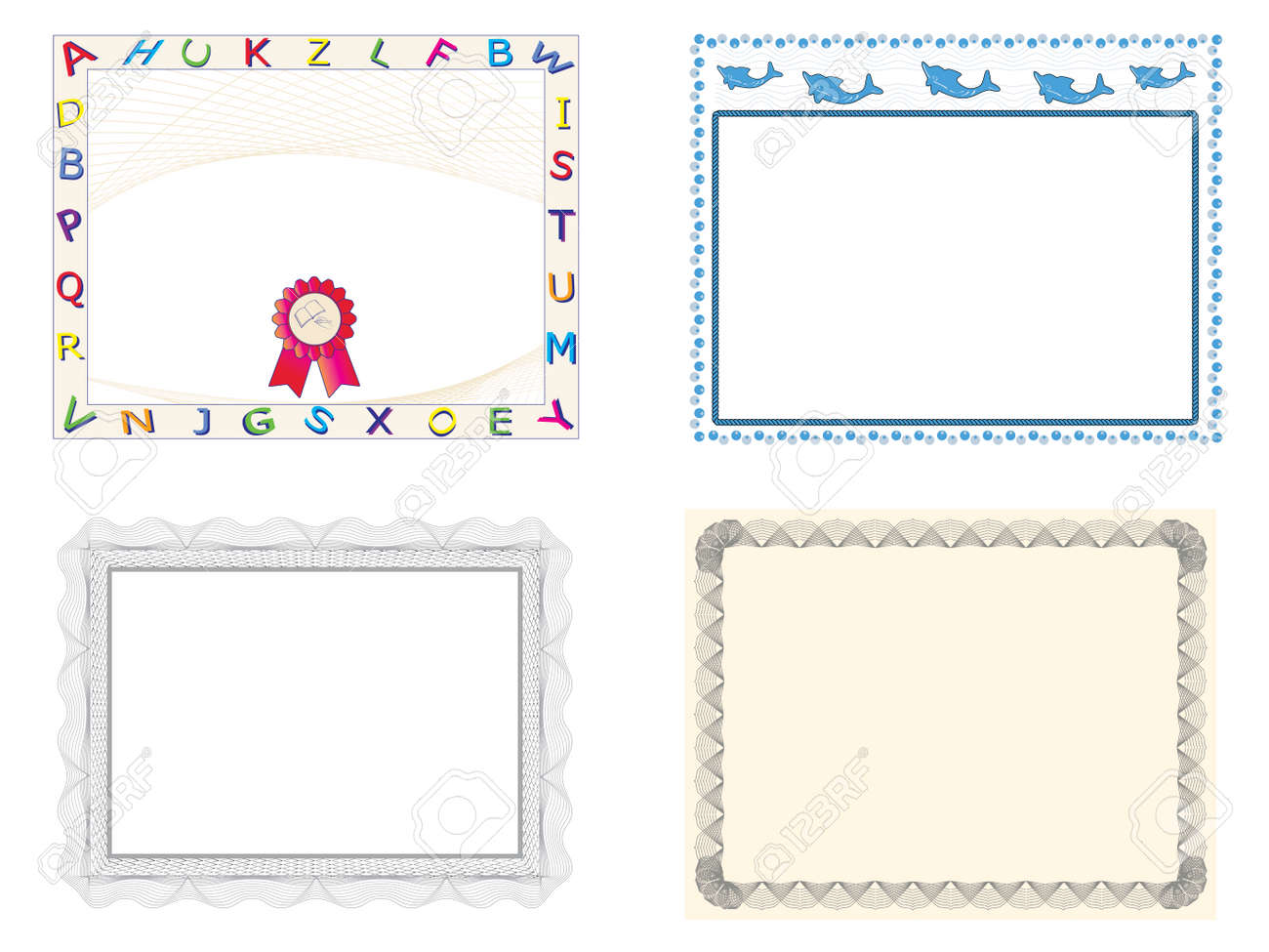 Four Certificate Of Completion Templates Royalty Free Cliparts ...