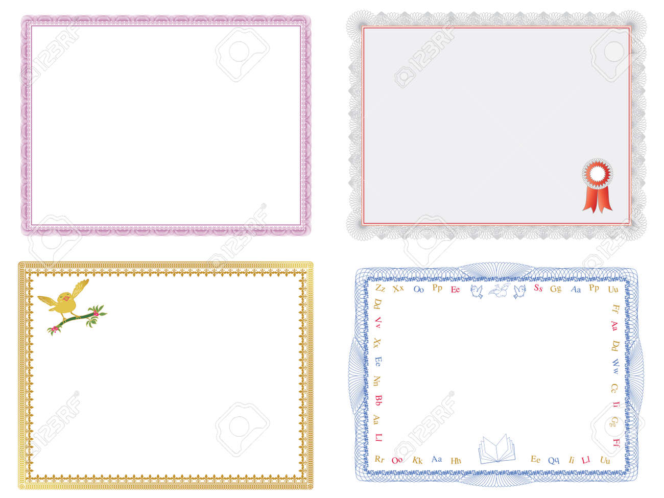 Four Certificates Of Completion Templates Royalty Free Cliparts