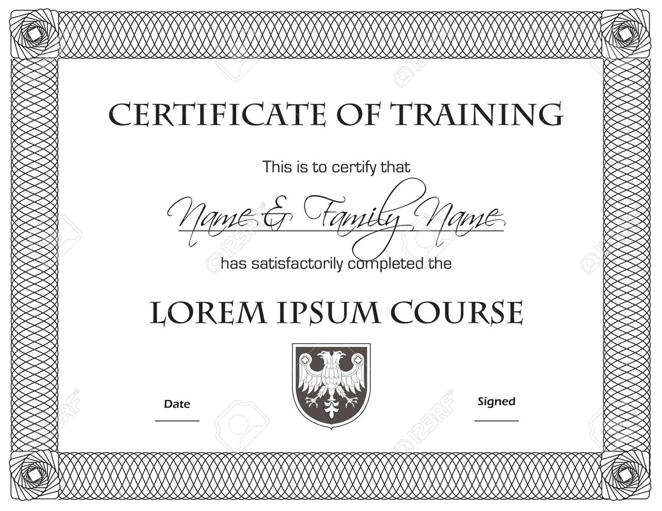 Sample certificate of training completion invitation templates certificate of completion template black on white royalty free 7392166 certificate of completion template black on yadclub Choice Image