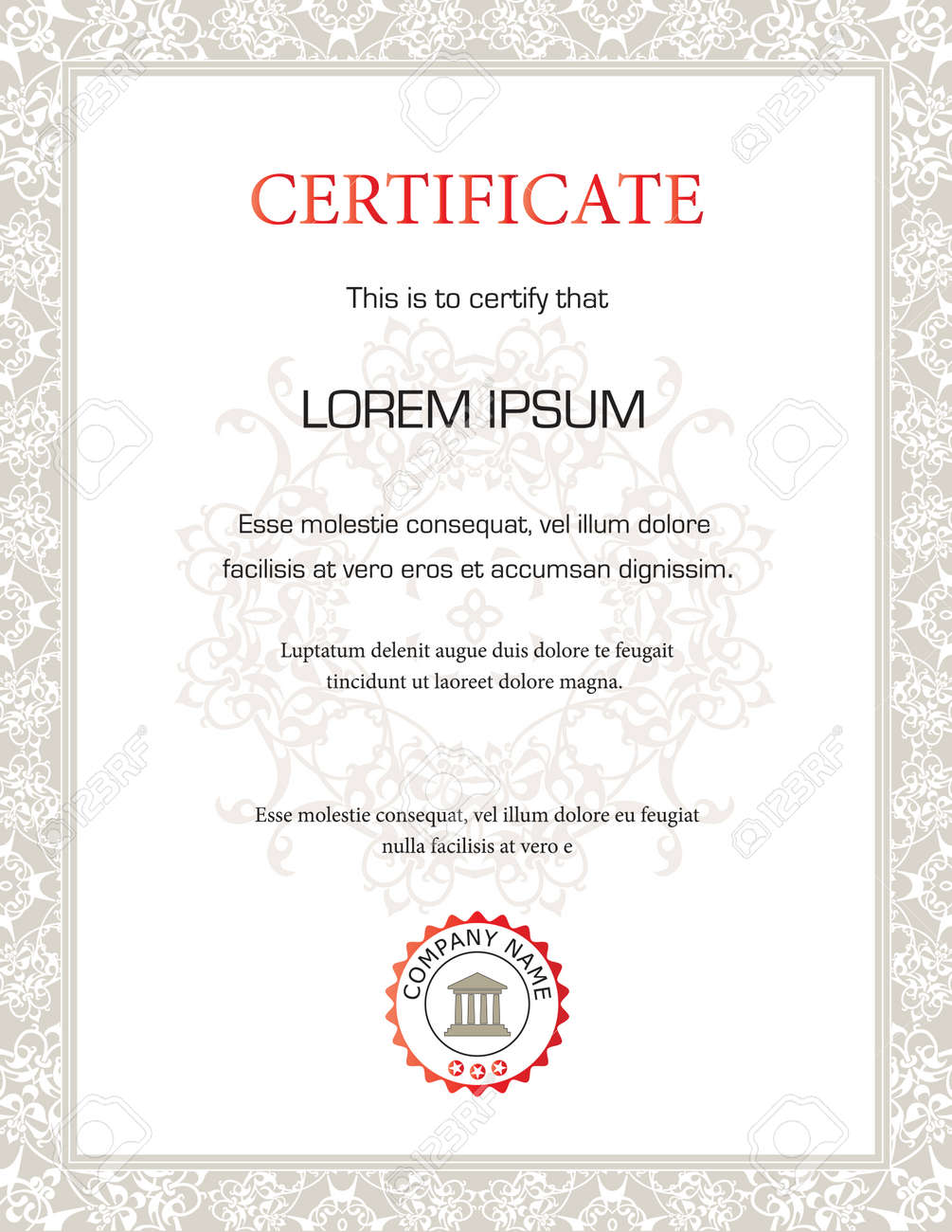 Vertical Certificate Template General Purpose Royalty Free - Electronic stock certificate template