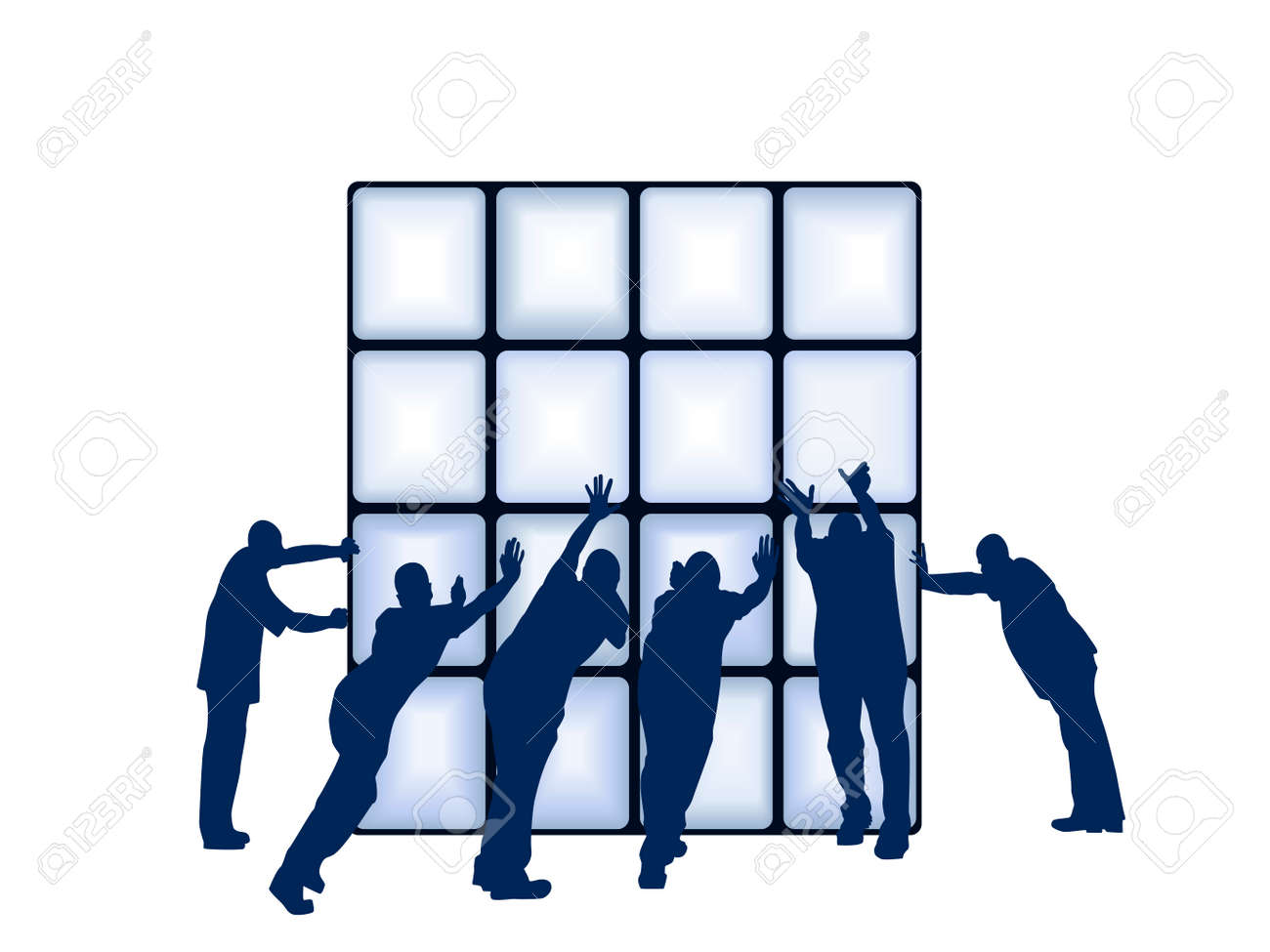 separate people. people pushing object; square on separate layer stock vector - 7426203 e