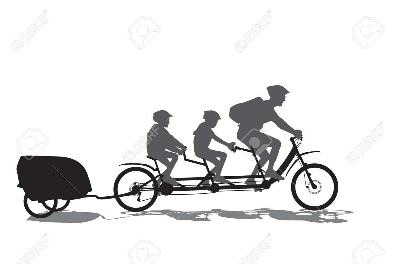father with his kids on cycling tour Stock Vector - 7447071