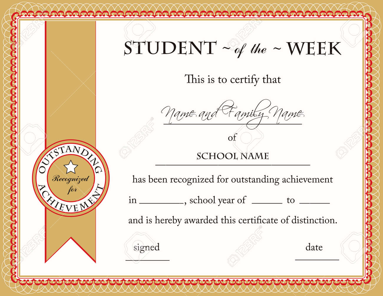 Student of the week certificate royalty free cliparts vectors student of the week certificate stock vector 7468135 xflitez Choice Image