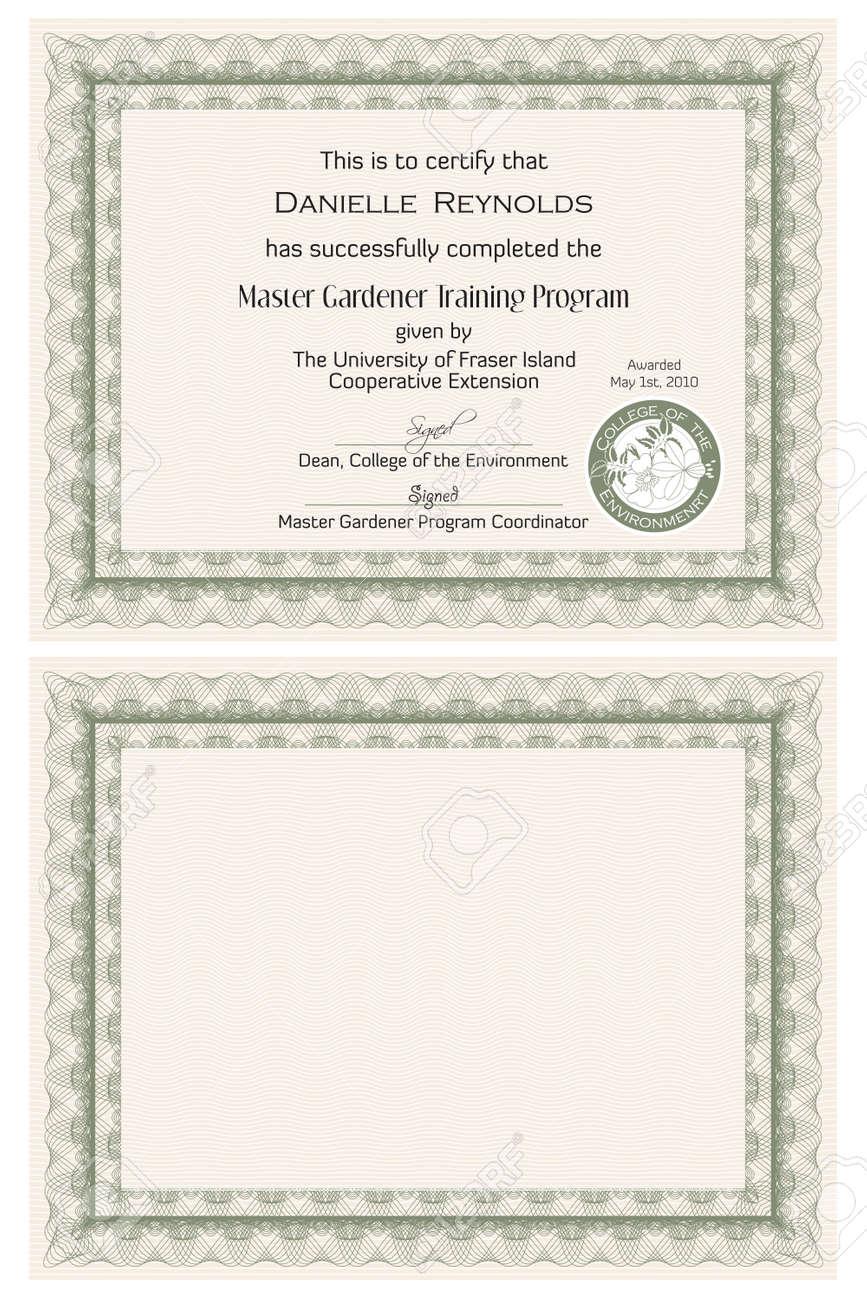 Master-Gärtner Zertifikatvorlage Lizenzfrei Nutzbare Vektorgrafiken ...