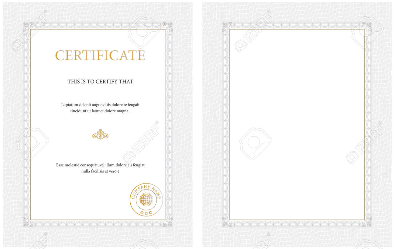 Vertical Certificate Templateblank Or With Sample Text General