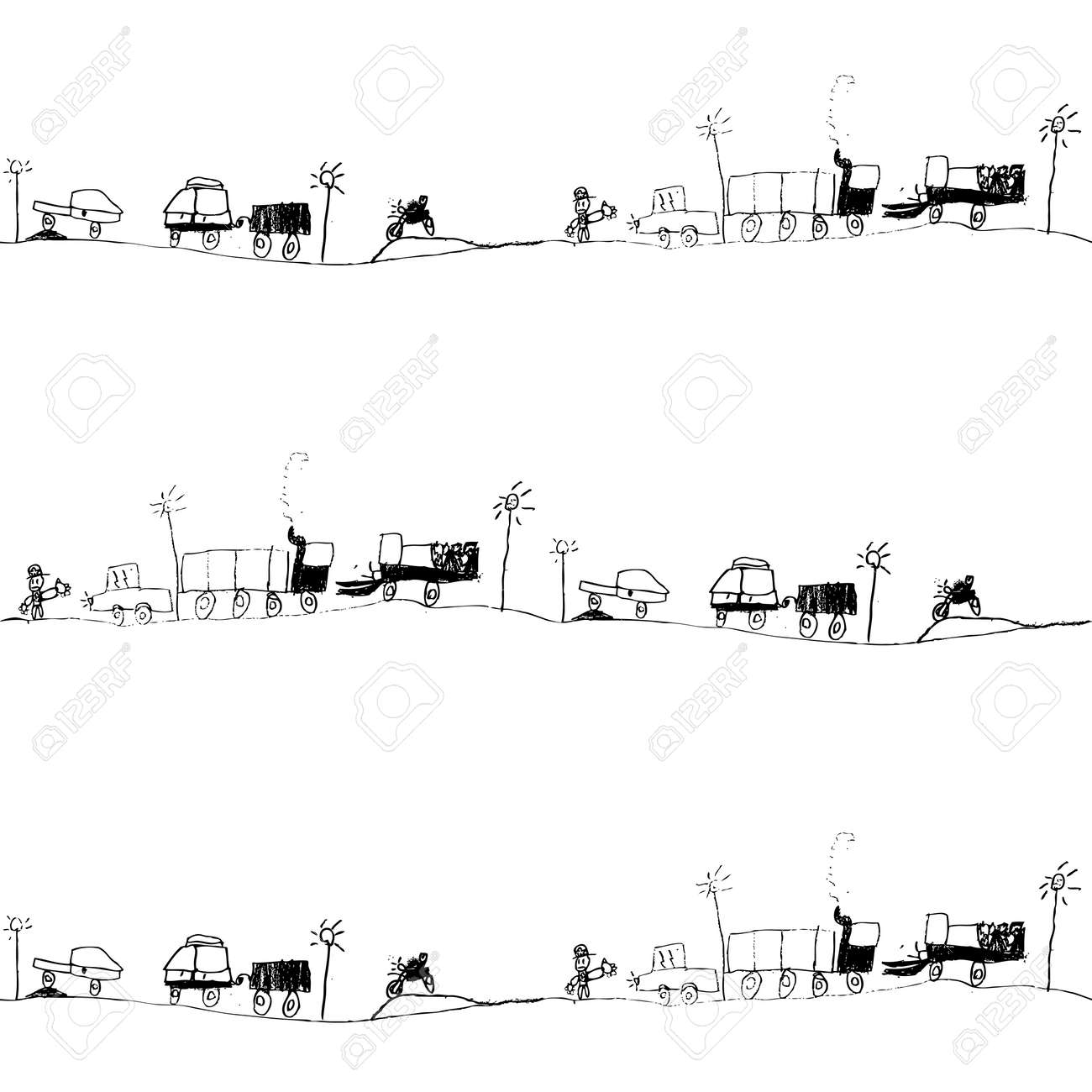 traffic jam kid s drawing seamless pattern royalty cliparts vector traffic jam kid s drawing seamless pattern