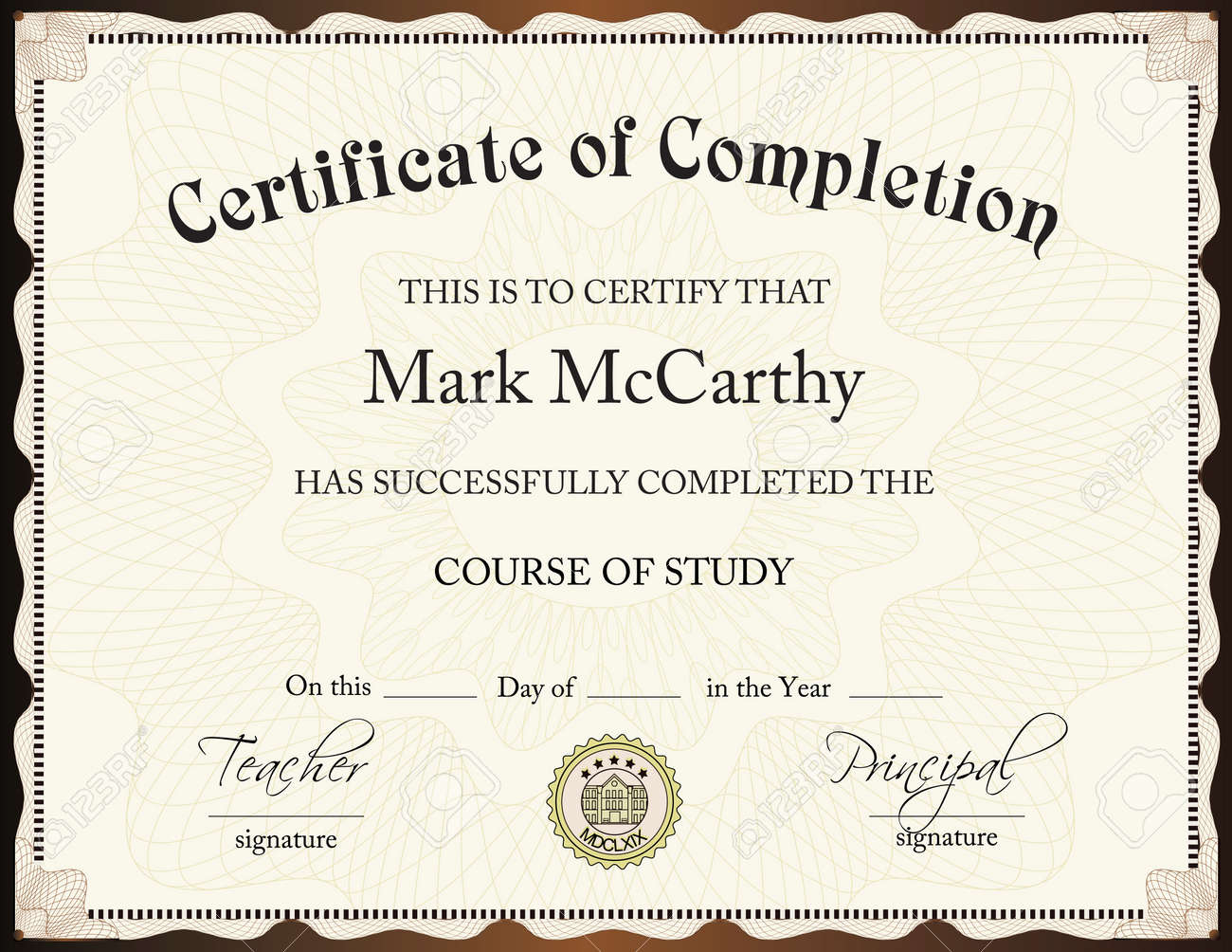Certification Of Completion Template 13 Free Printable – Certificate of Completion Sample