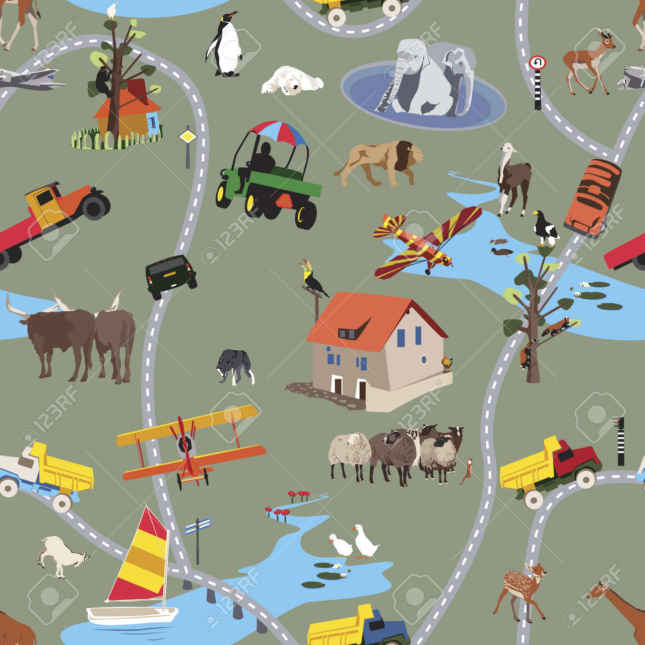 Big World For Little People - Seamless Pattern Stock Vector - 9346971