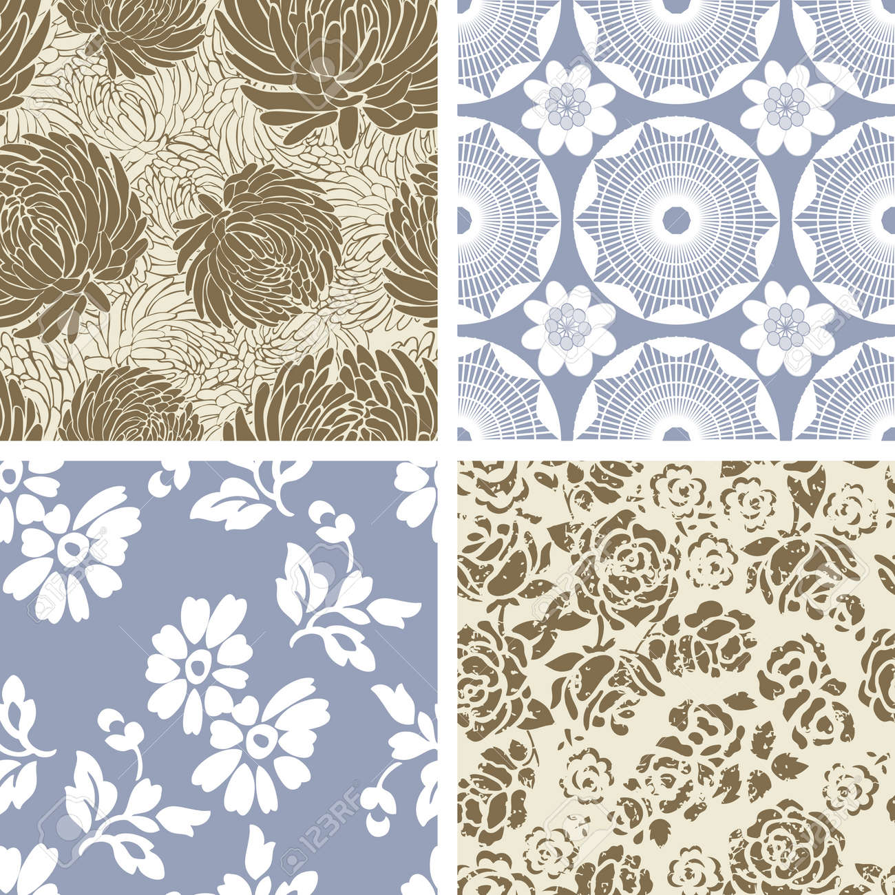 Set of 4 Seamless Floral  Pattern Tiles Stock Vector - 9548605
