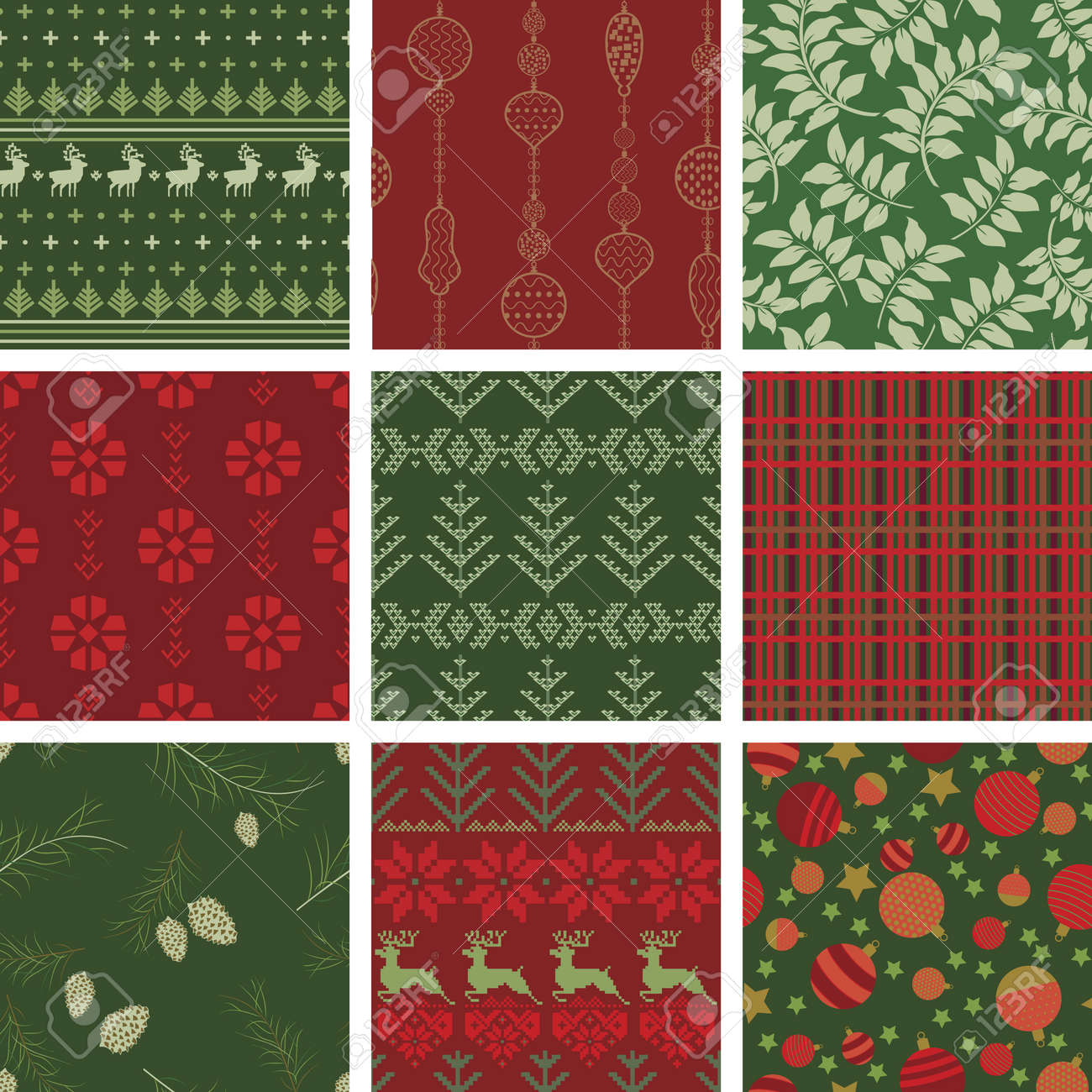Seamless Christmas Pattern Tile Collection Stock Vector - 9607400