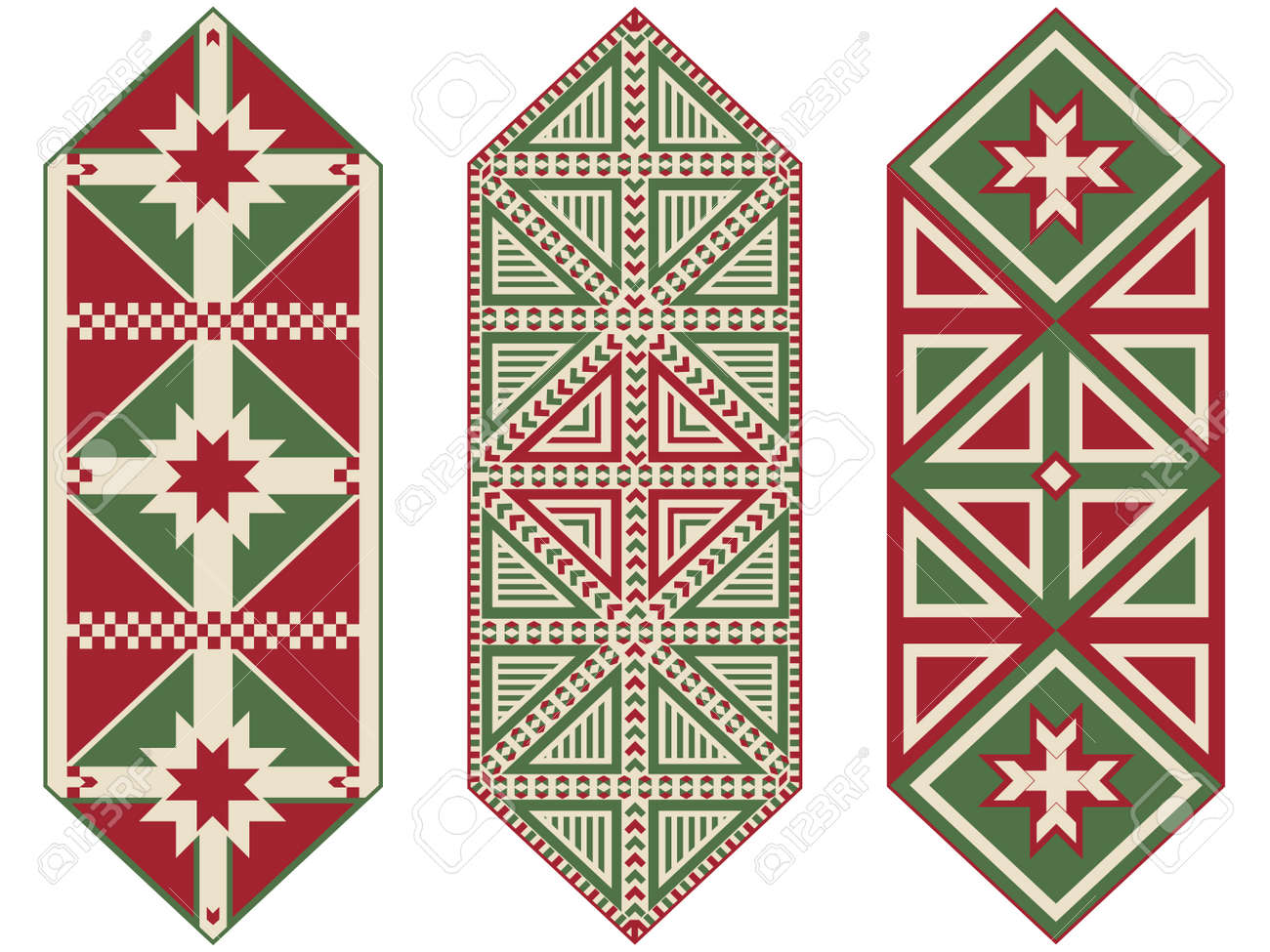 Set Ornamental Christmas Table Runners Royalty Free Cliparts