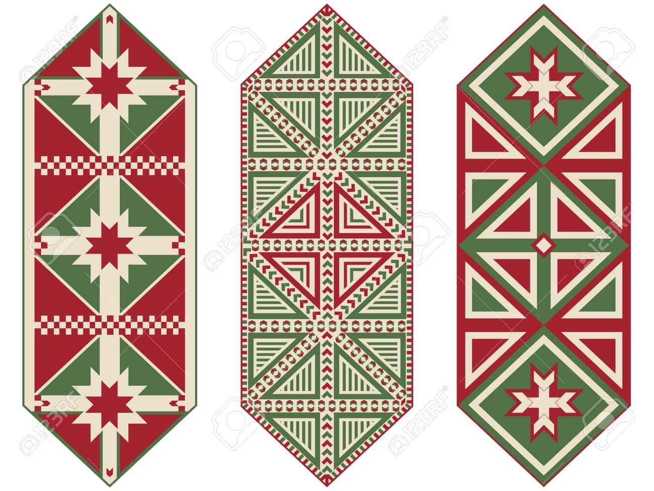 Christmas Table Runners.Set Of Ornamental Christmas Table Runners